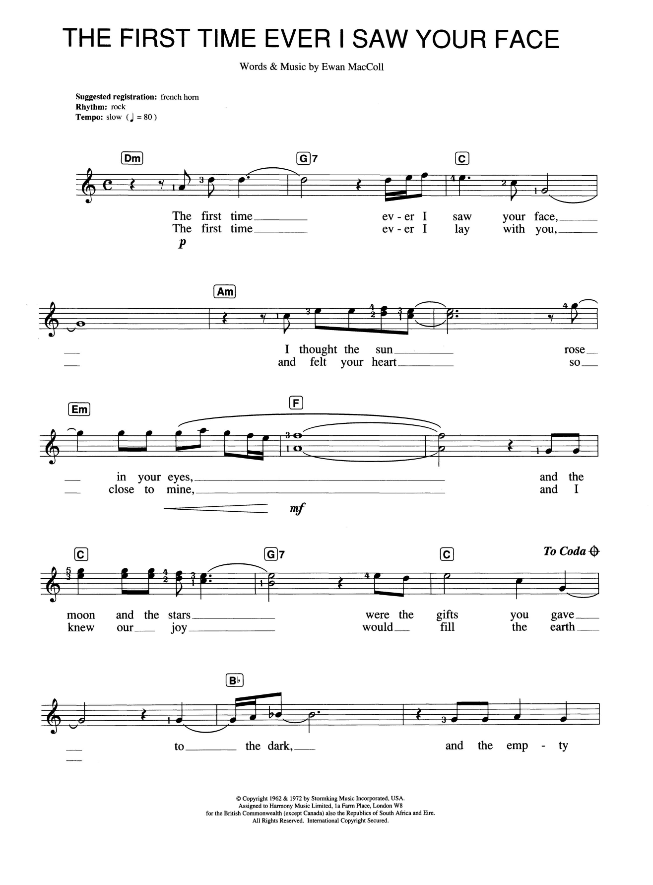 Sheet music digital files to print licensed ewan maccoll digital the first time ever i saw your face hexwebz Image collections