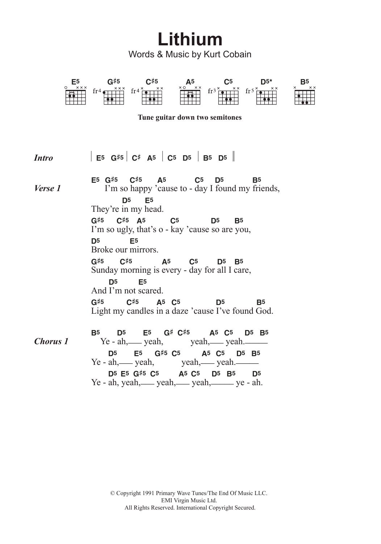 Sheet Music Digital Files To Print Licensed Kurt Cobain Digital