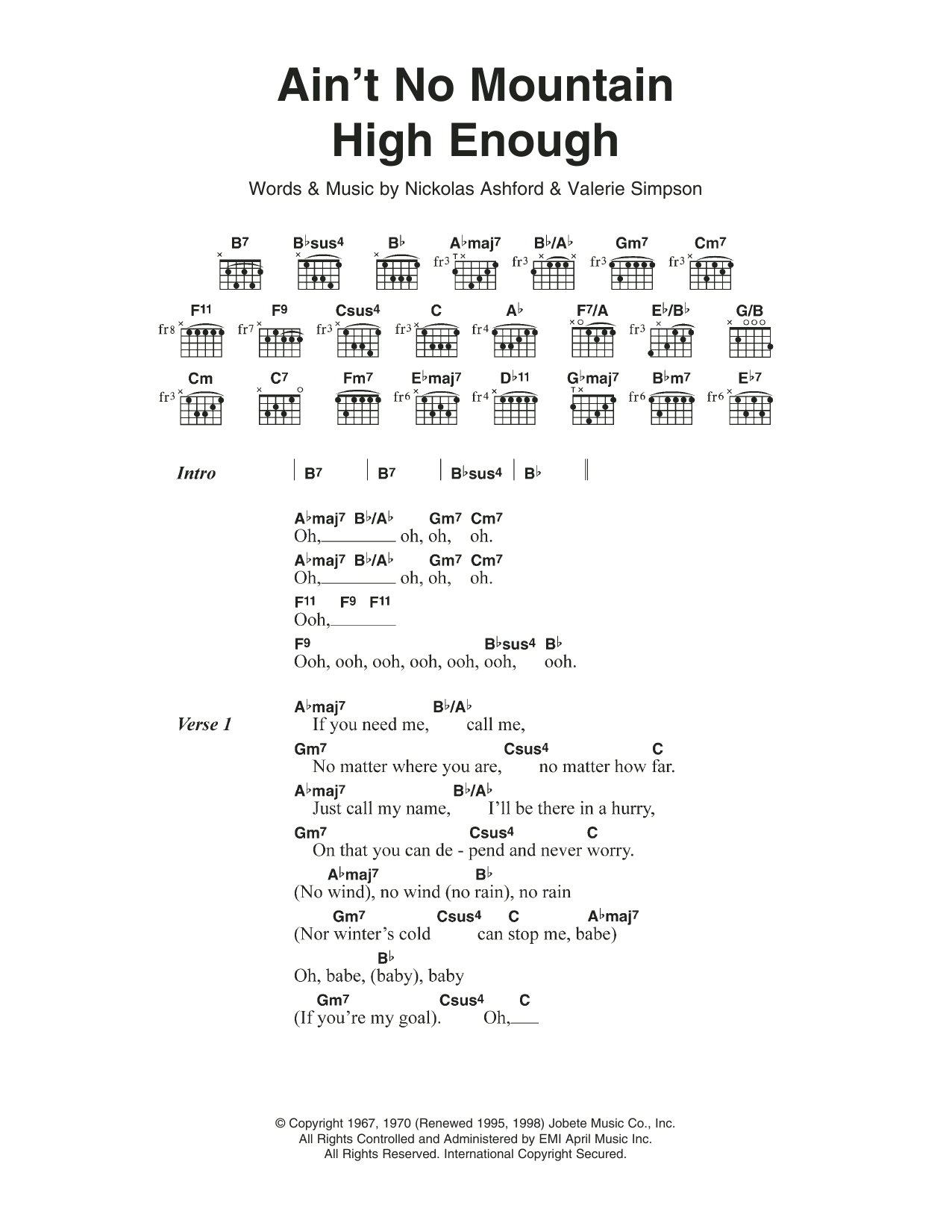 Sheet music digital files to print licensed guitar chordslyrics aint no mountain high enough hexwebz Images