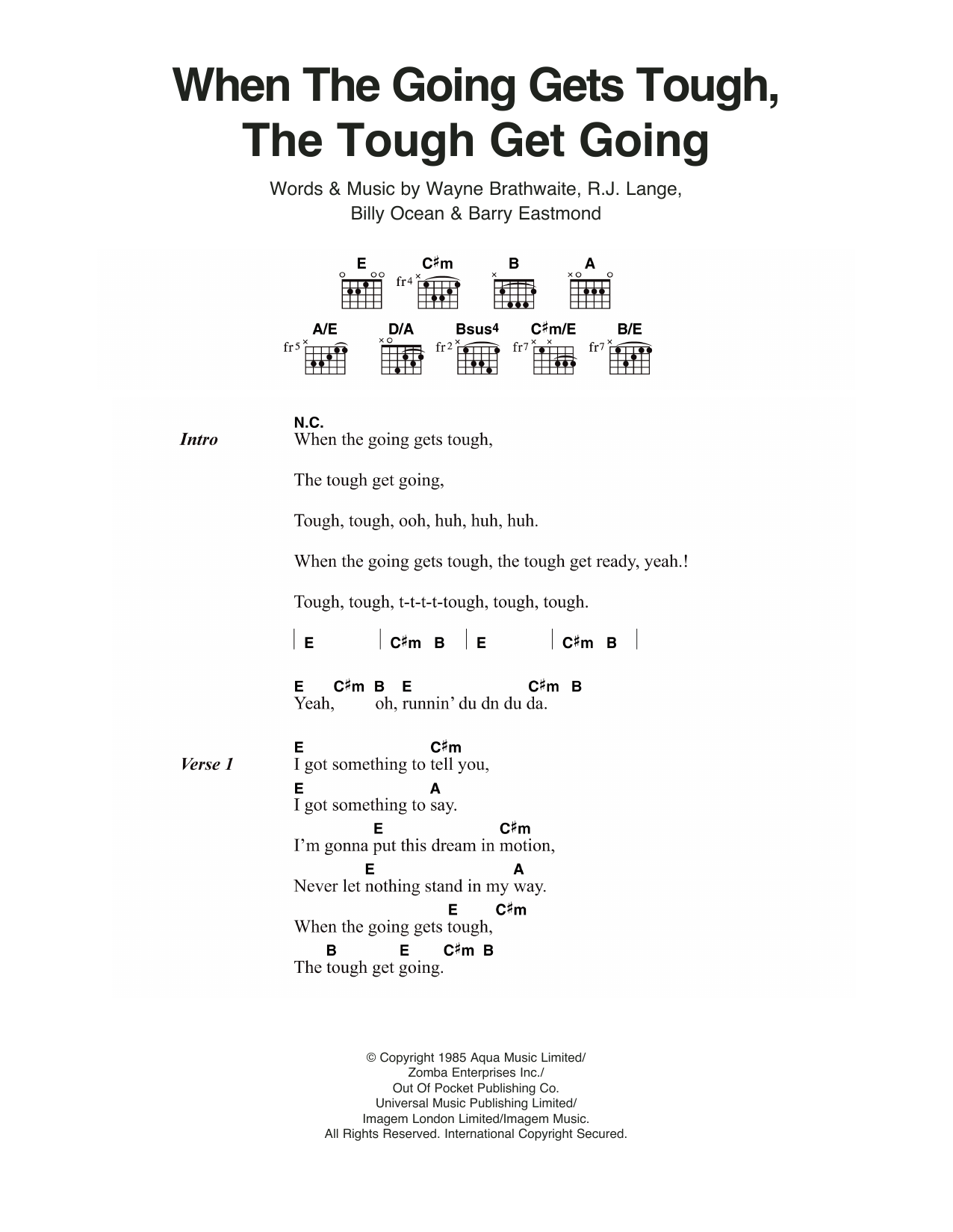 Billy Ocean - When The Going Gets Tough, The Tough Get Going