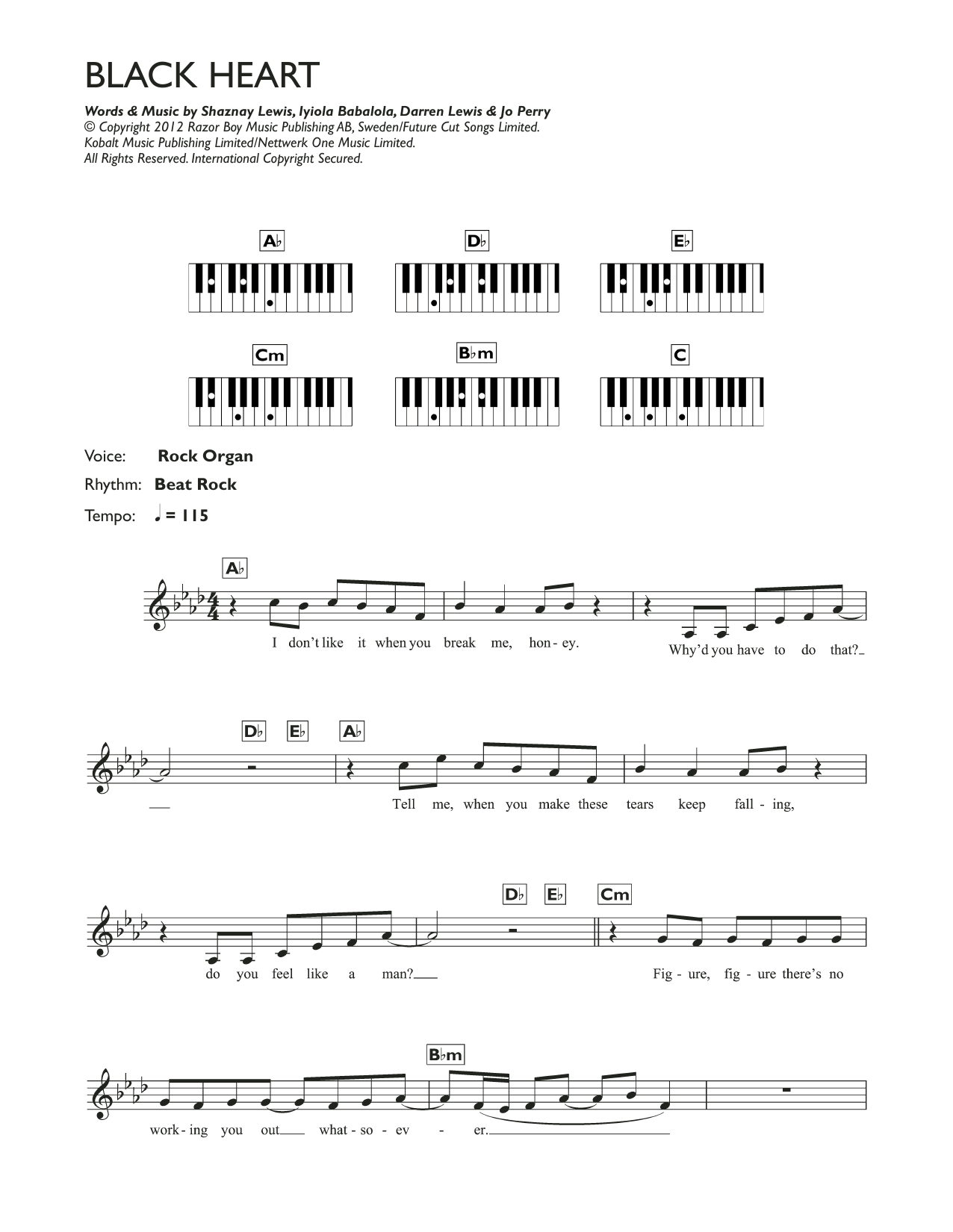 Stooshe Black Heart At Stantons Sheet Music