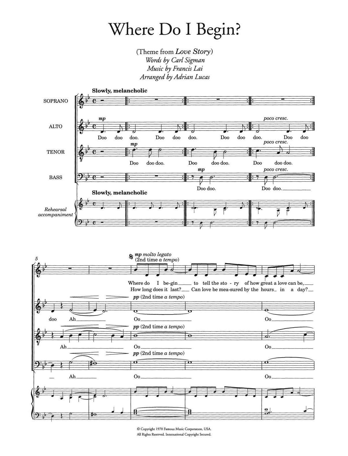 Francis Lai - Where Do I Begin (theme from Love Story) (arr. Adrian Lucas)
