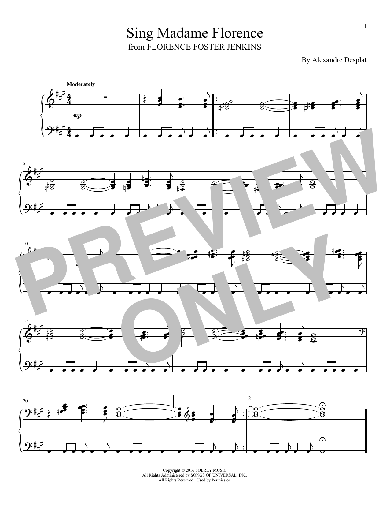 Alexandre Desplat - Sing Madame Florence