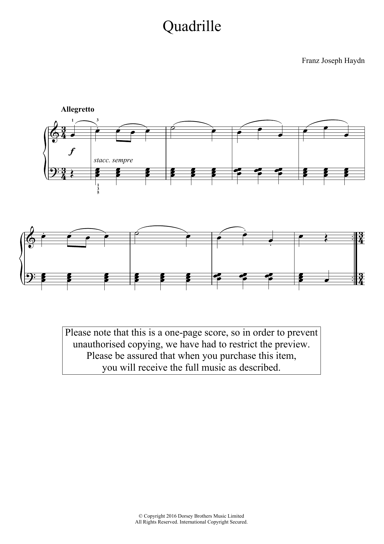 Franz Joseph Haydn - Quadrille