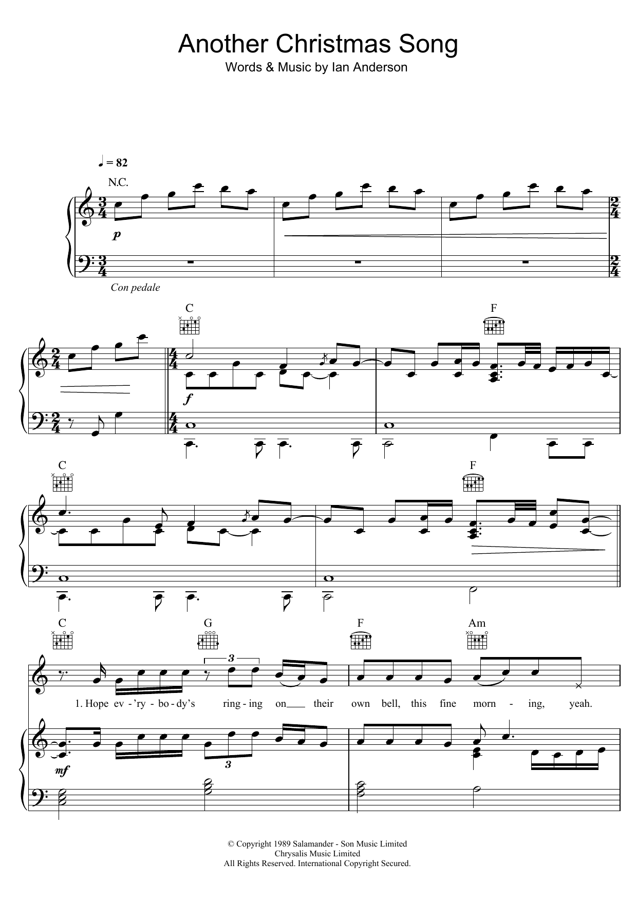 Jethro Tull - Another Christmas Song at Stanton\'s Sheet Music