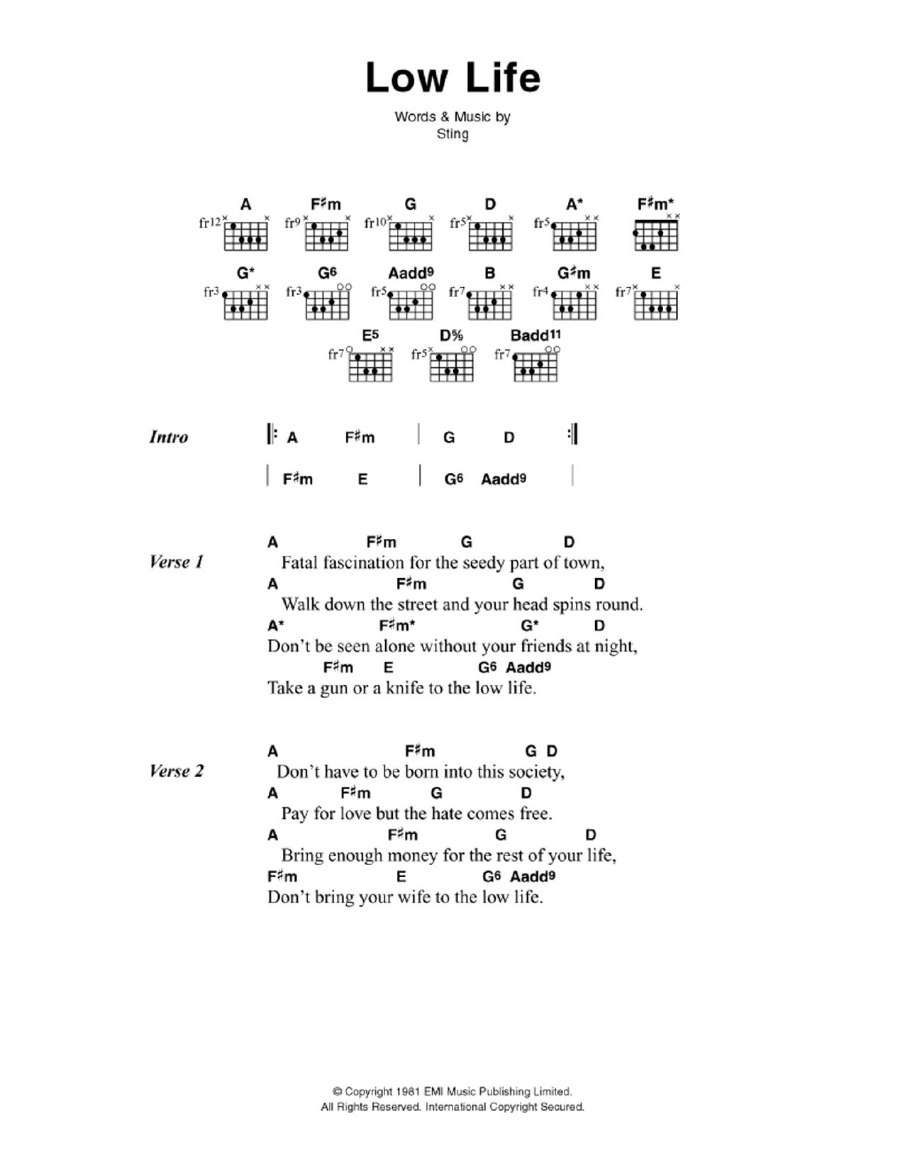 Sheet Music Digital Files To Print Licensed Sting Digital Sheet Music