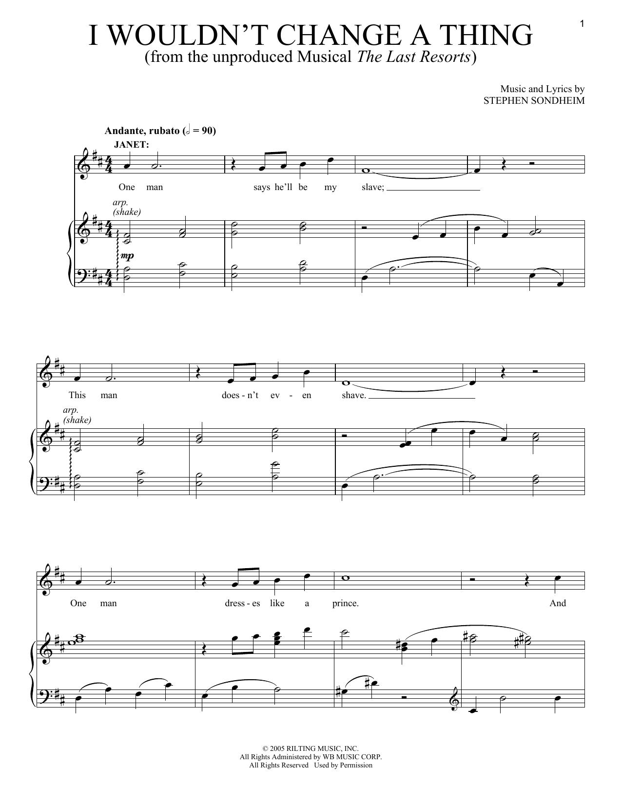 Stephen Sondheim - I Wouldn't Change A Thing