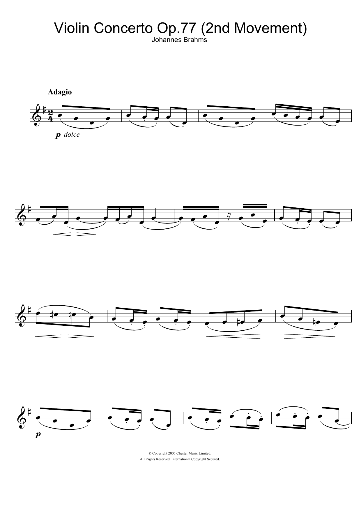 Johannes Brahms - Violin Concerto (2nd Movement)
