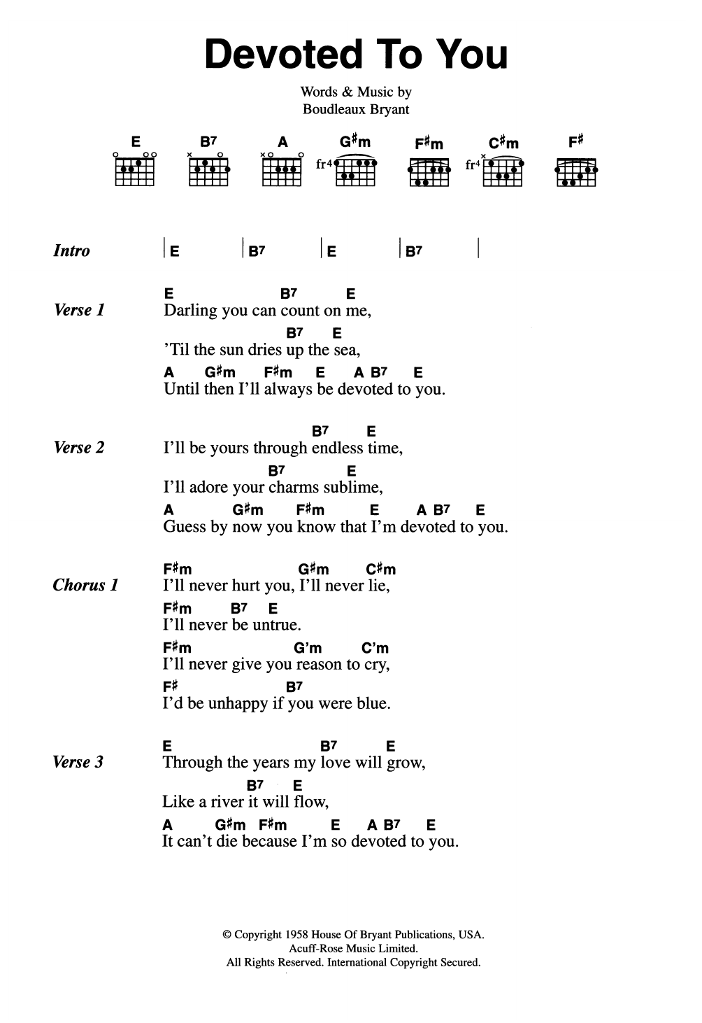 The everly brothers devoted to you sheet music at stantons format guitar chord hexwebz Image collections