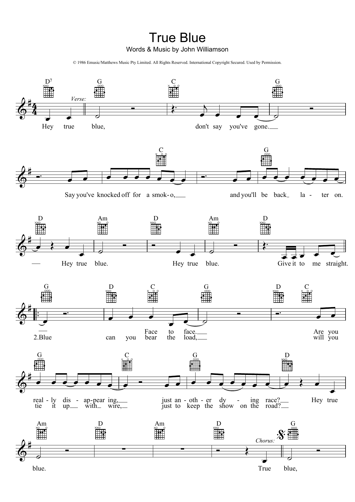 John Williamson True Blue Sheet Music at Stanton s Sheet Music