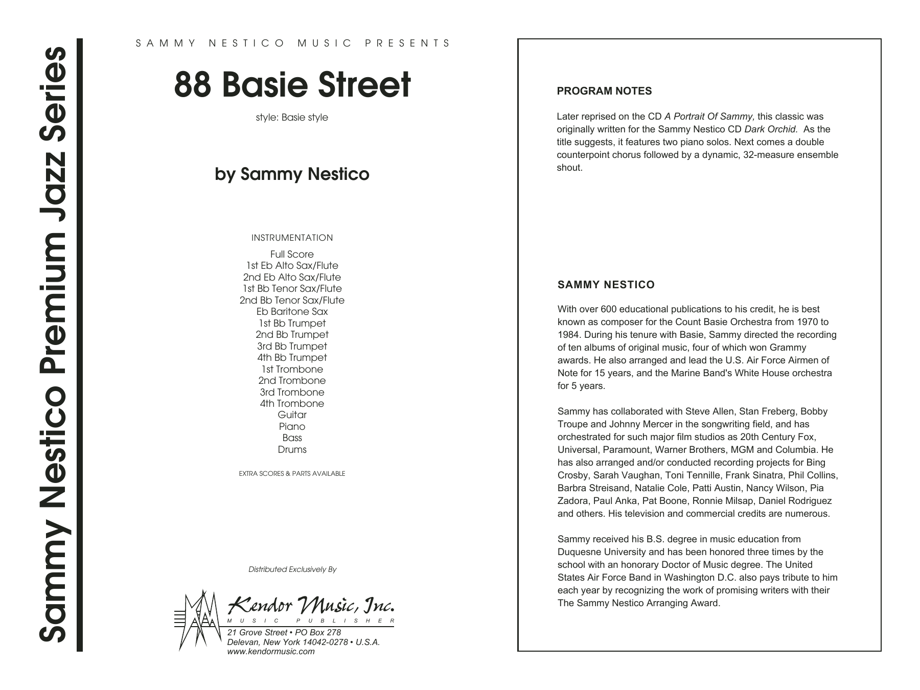88 Basie Street (COMPLETE) sheet music for jazz band by Sammy Nestico