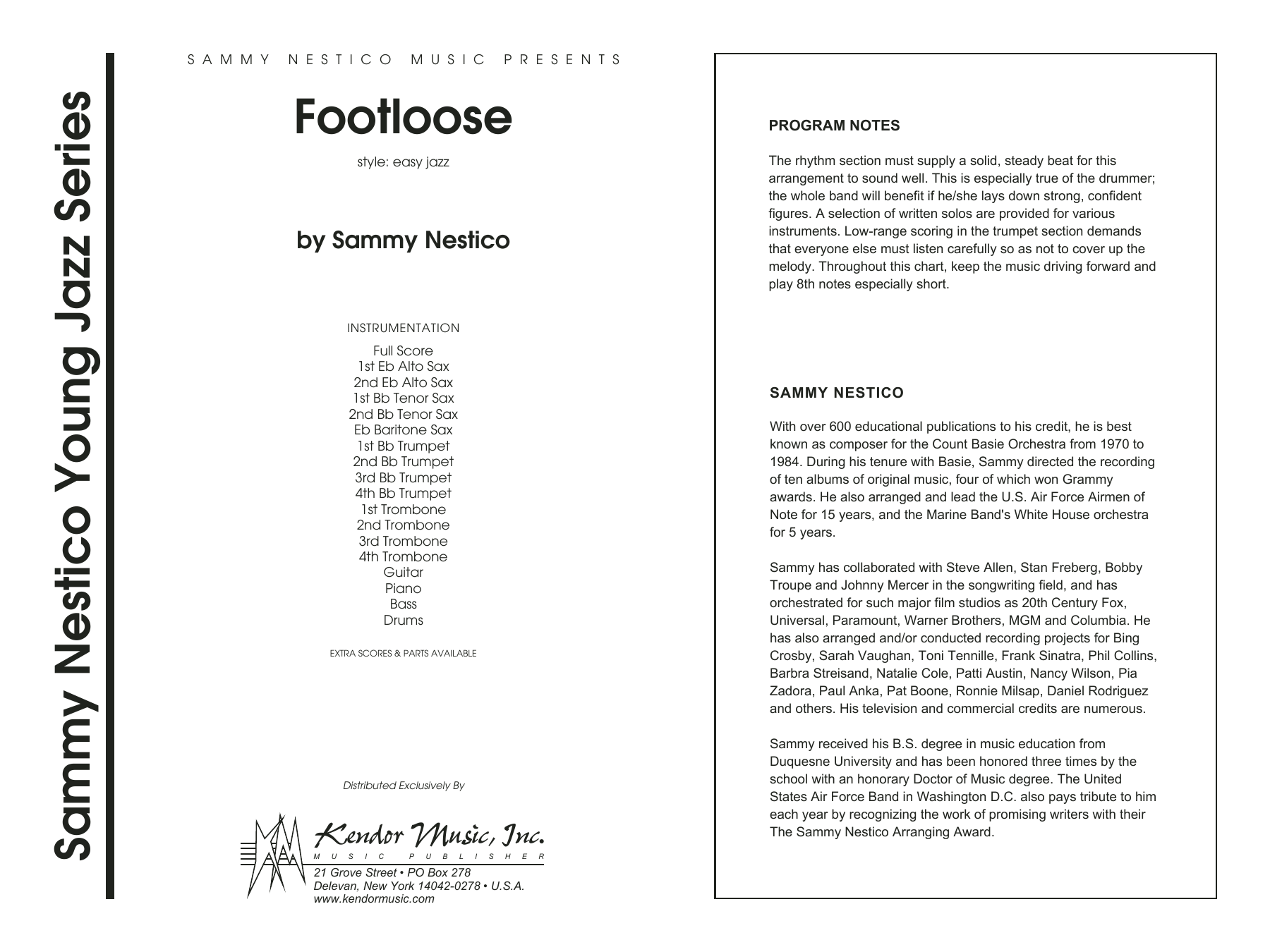 Footloose (COMPLETE) sheet music for jazz band by Sammy Nestico