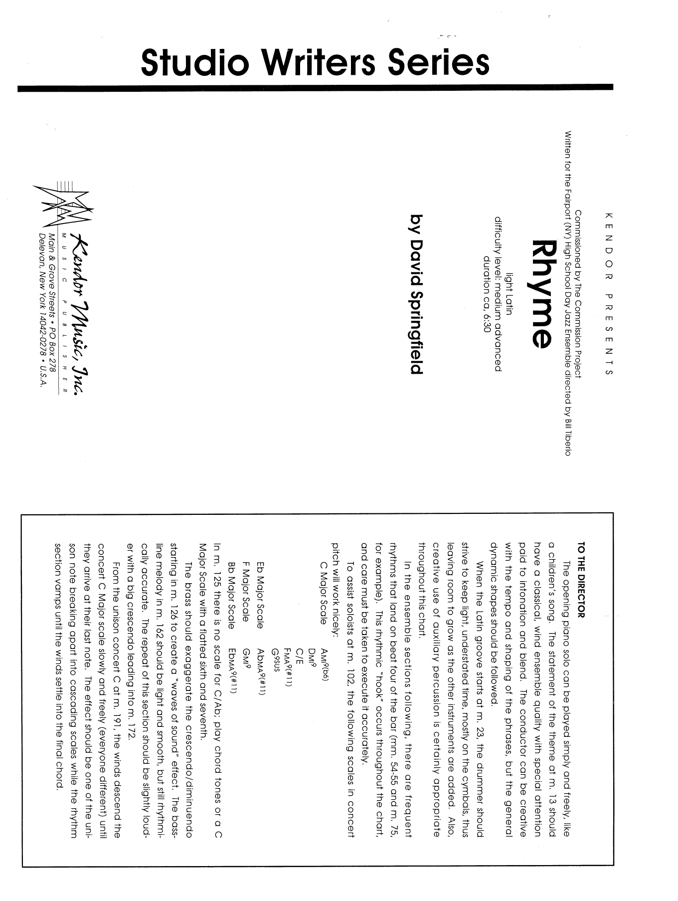 Rhyme (COMPLETE) sheet music for jazz band by Dave Springfield