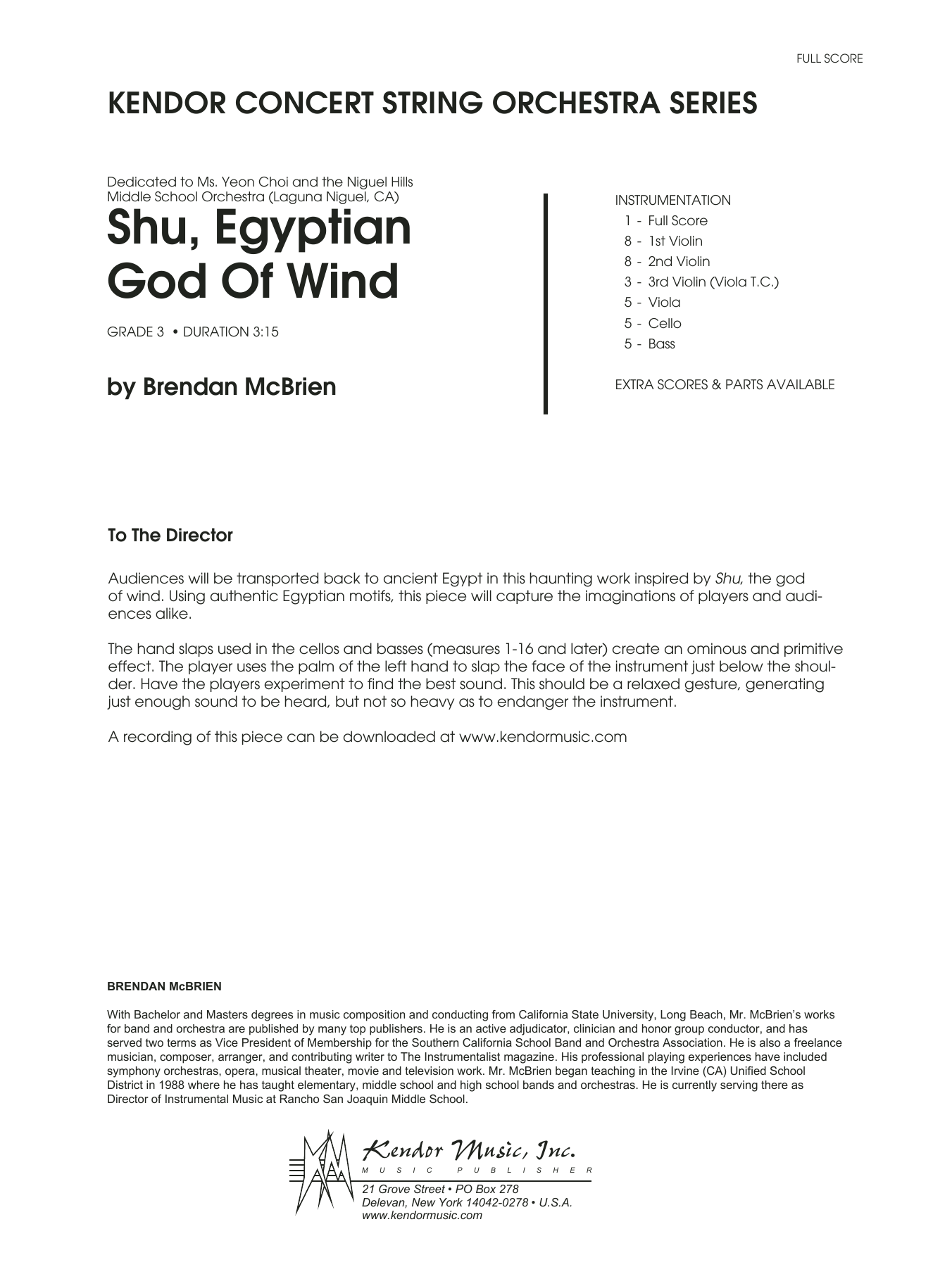 Shu, Egyptian God Of Wind (COMPLETE) sheet music for orchestra by Brendan McBrien