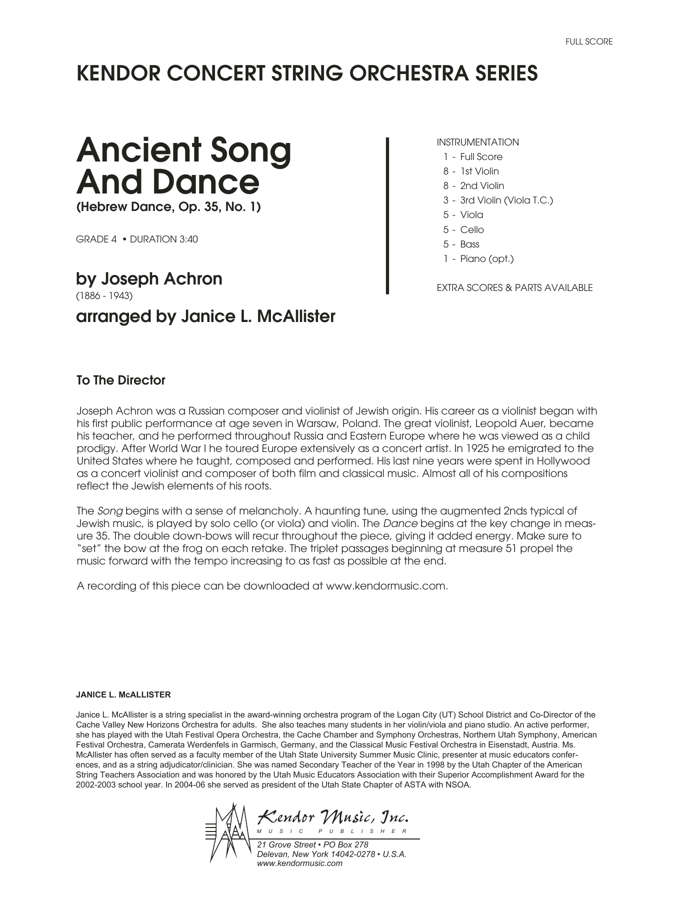 Ancient Song And Dance (Hebrew Dance, Op. 35, No. 1) - Full Score