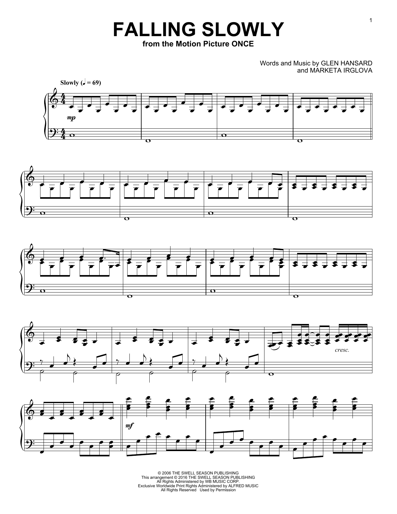 Sheet music digital files to print licensed glen hansard digital falling slowly hexwebz Gallery