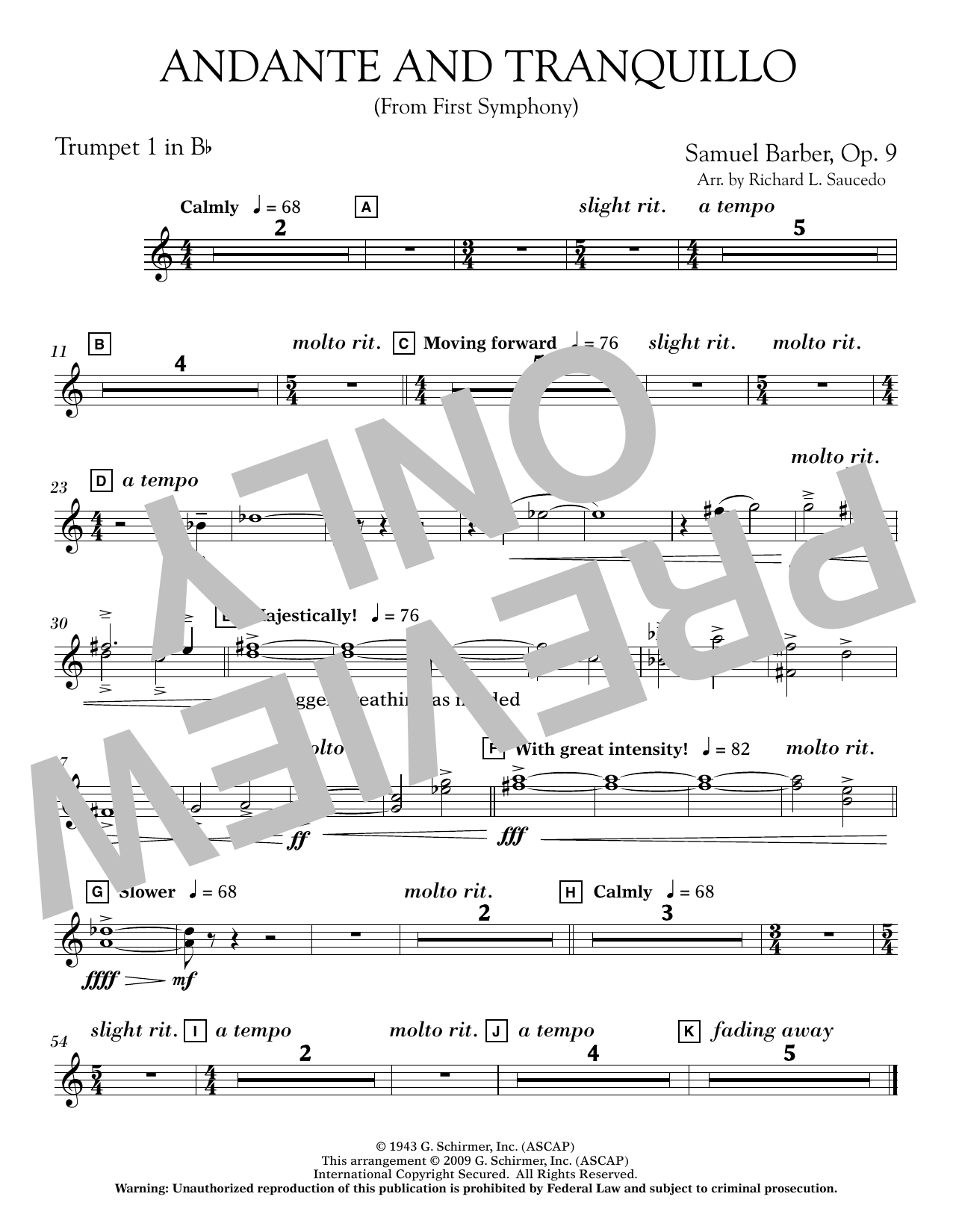 Andante and Tranquillo (from First Symphony) - Bb Trumpet 1