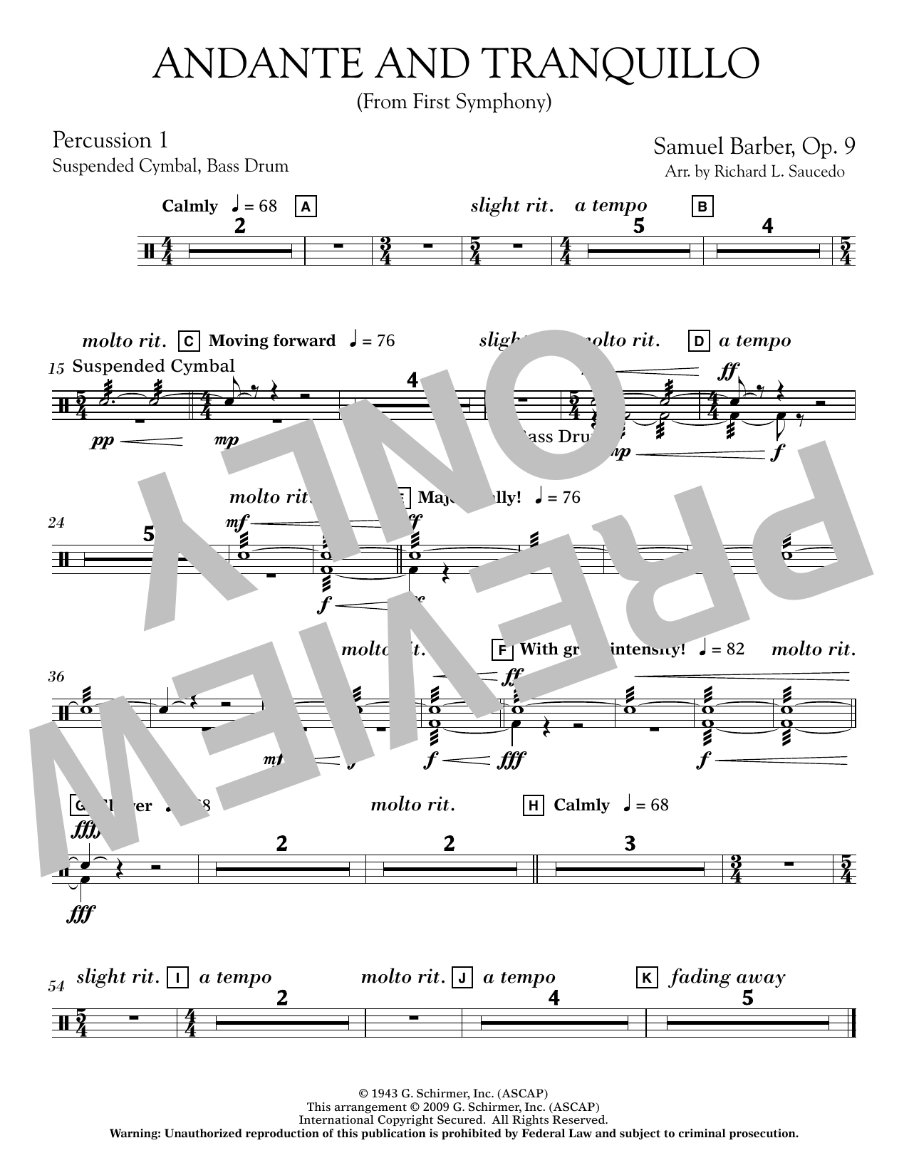 Andante and Tranquillo (from First Symphony) - Percussion 1
