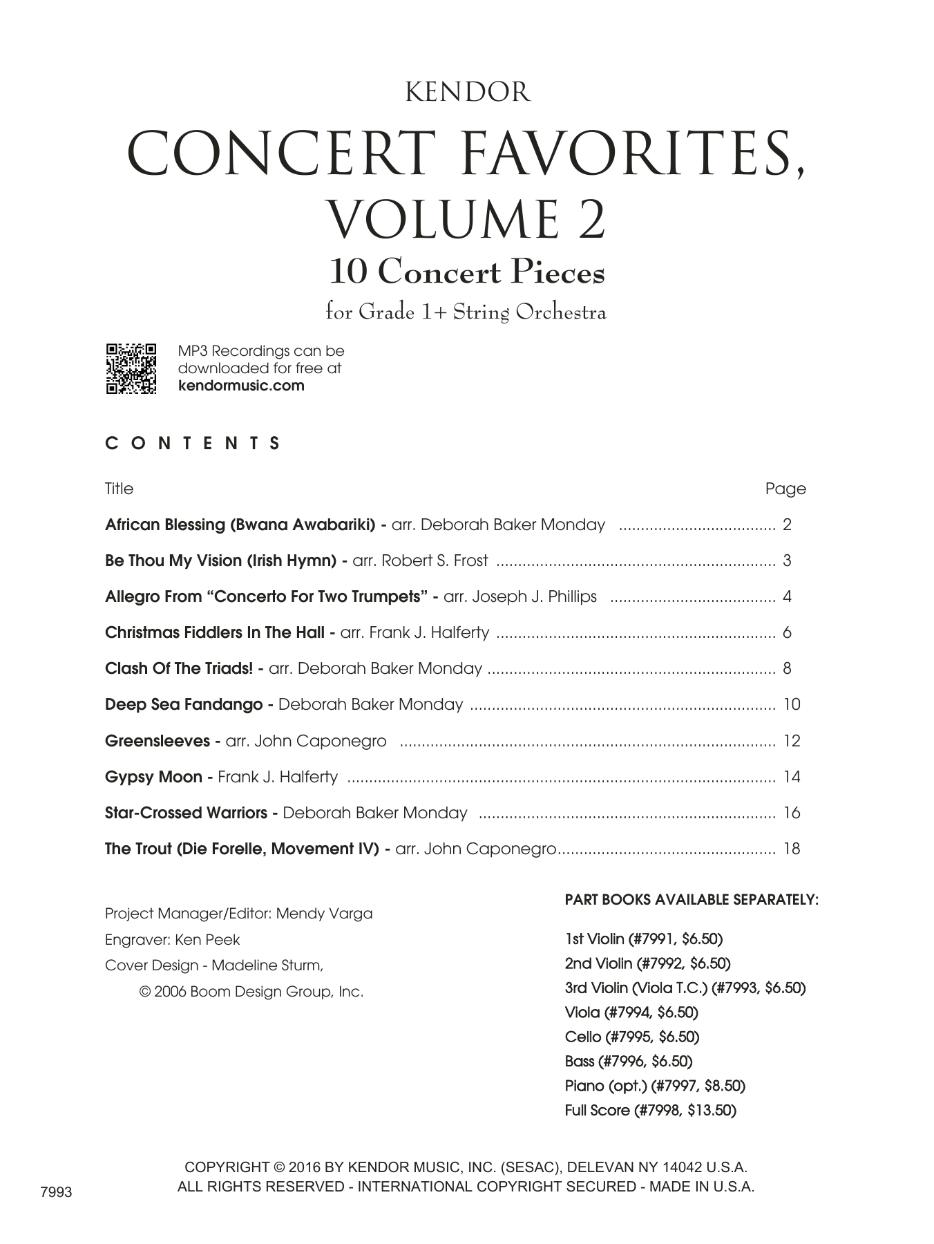 Kendor Concert Favorites, Volume 2 - 3rd Violin (Viola T.C.) - 3rd Violin