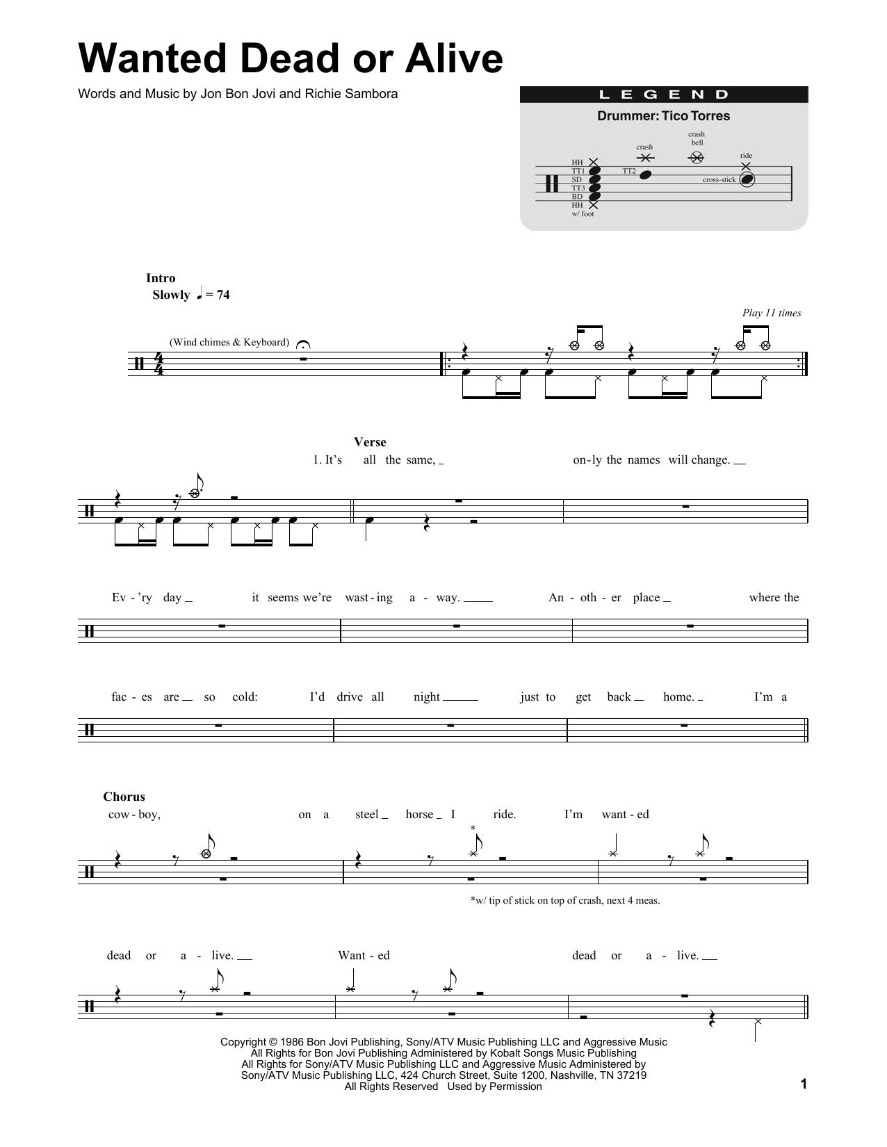 Partitions - wanted dead or alive - bon jovi (accords et partition guitare wanted dead or alive