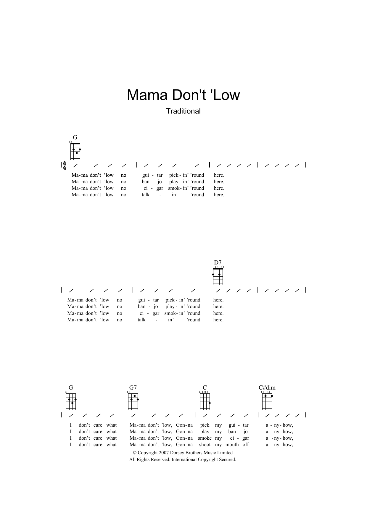 Traditional - Mama Don't 'low