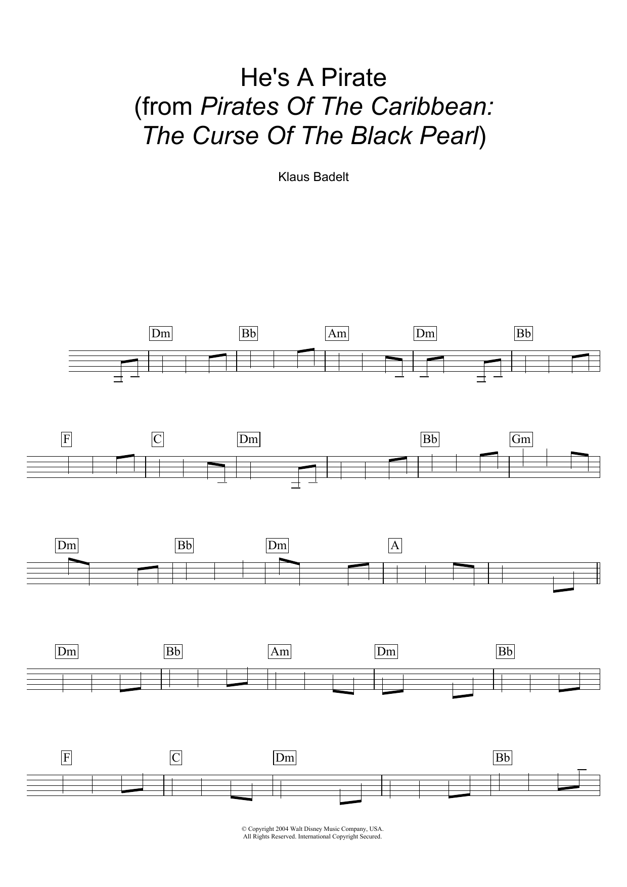Klaus Badelt - He's A Pirate (from Pirates Of The Caribbean: The Curse Of The Black Pearl)