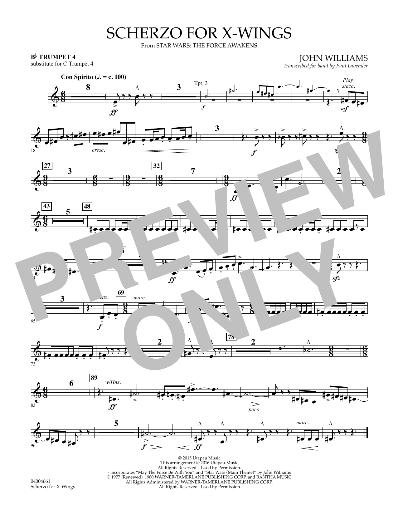 Scherzo for X-Wings - Bb Trumpet parts - Bb Trumpet 4 (sub. C Tpt. 4)