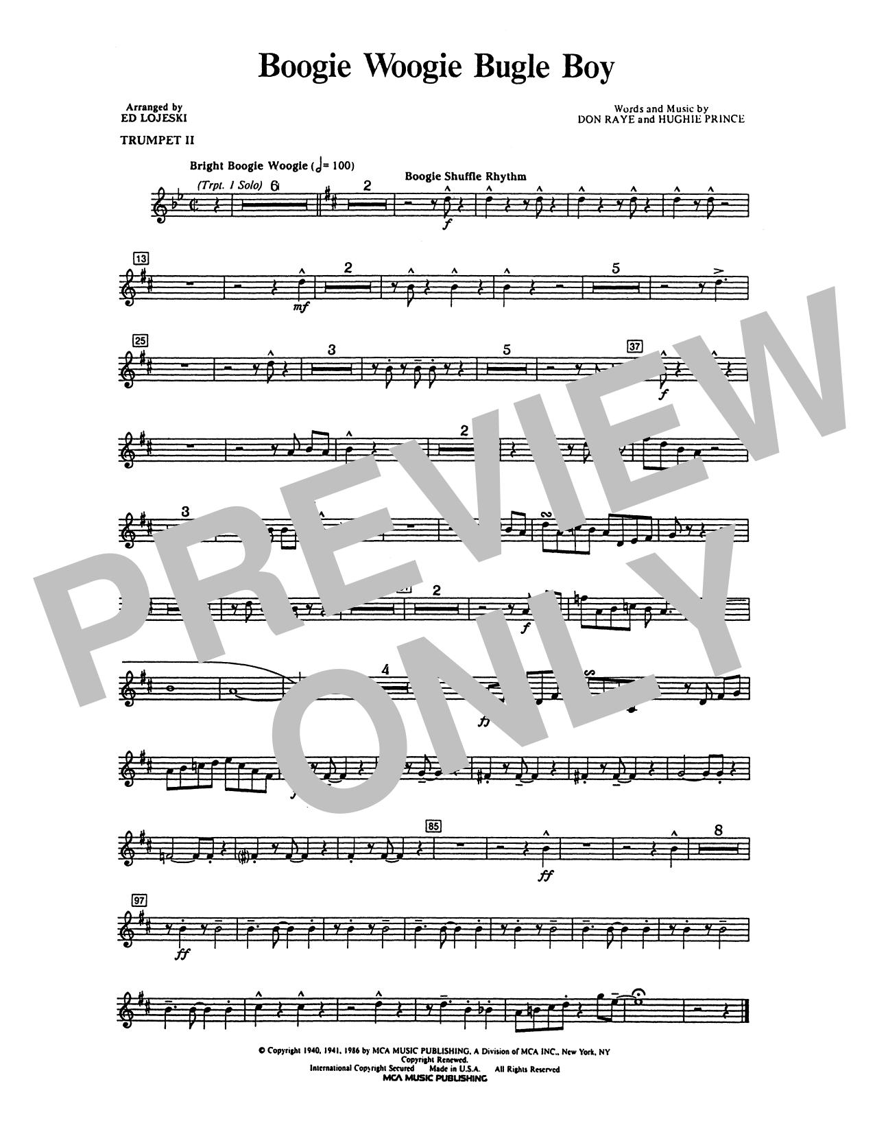 Andrews Sisters - Boogie Woogie Bugle Boy - Trumpet 2 in Bb