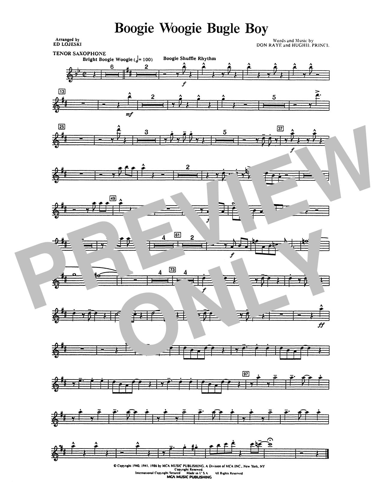 Andrews Sisters - Boogie Woogie Bugle Boy - Tenor Sax 1