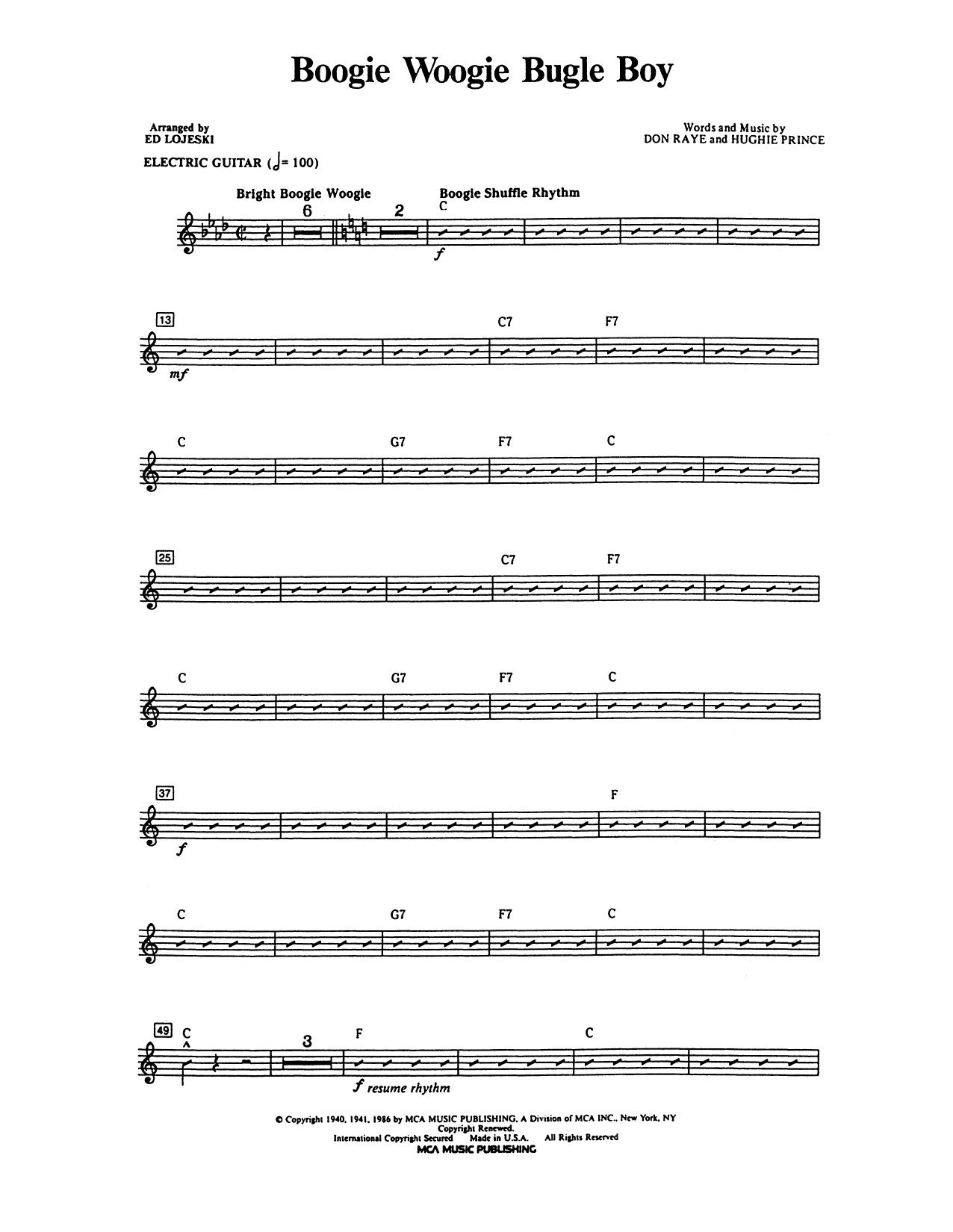 Andrews Sisters - Boogie Woogie Bugle Boy - Guitar