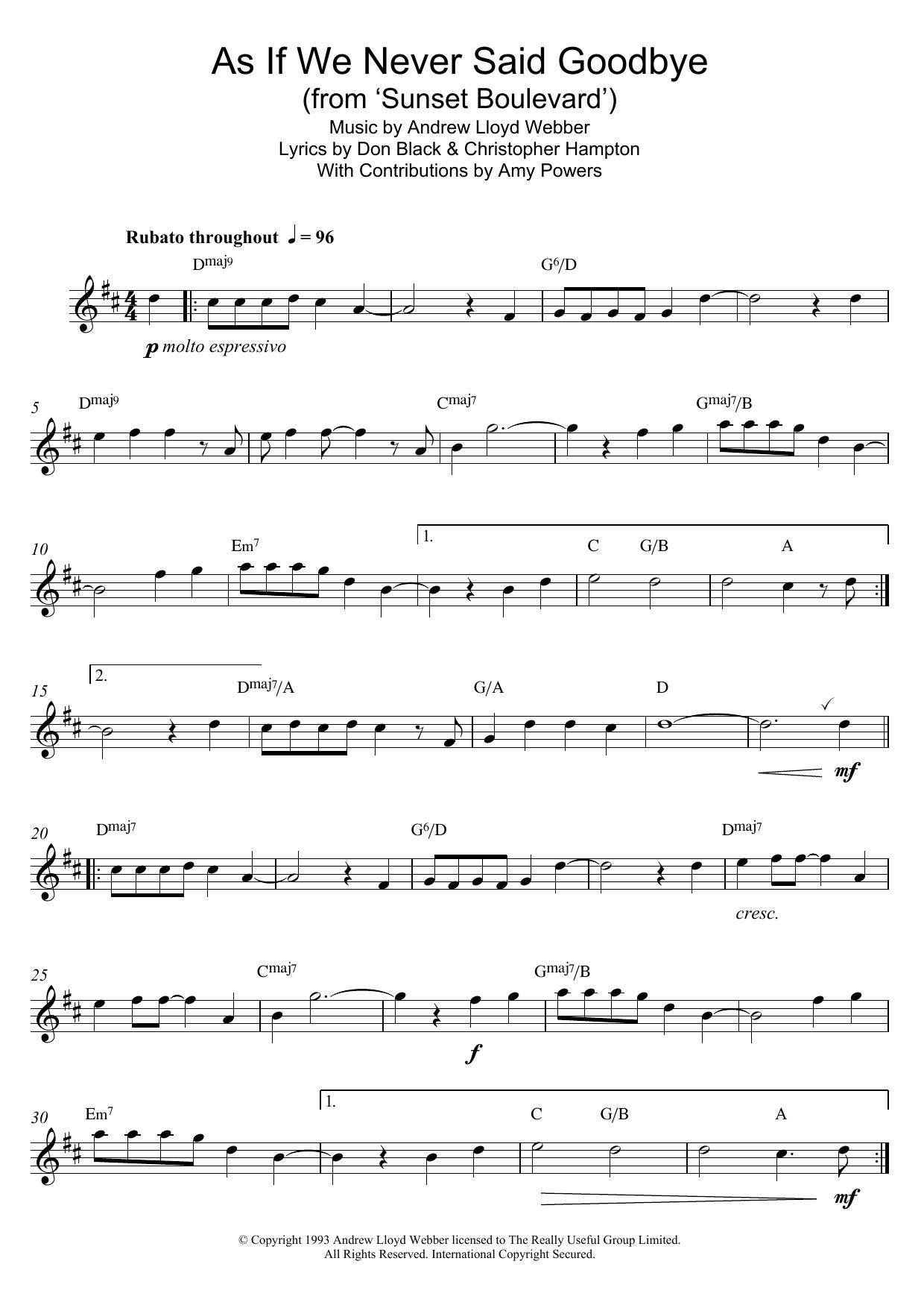 Andrew Lloyd Webber - As If We Never Said Goodbye (from Sunset Boulevard)
