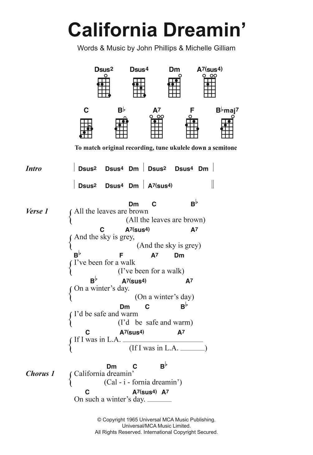 Sheet Music Digital Files To Print Licensed Ukulele A7 Uke Chord Diagram California Dreamin