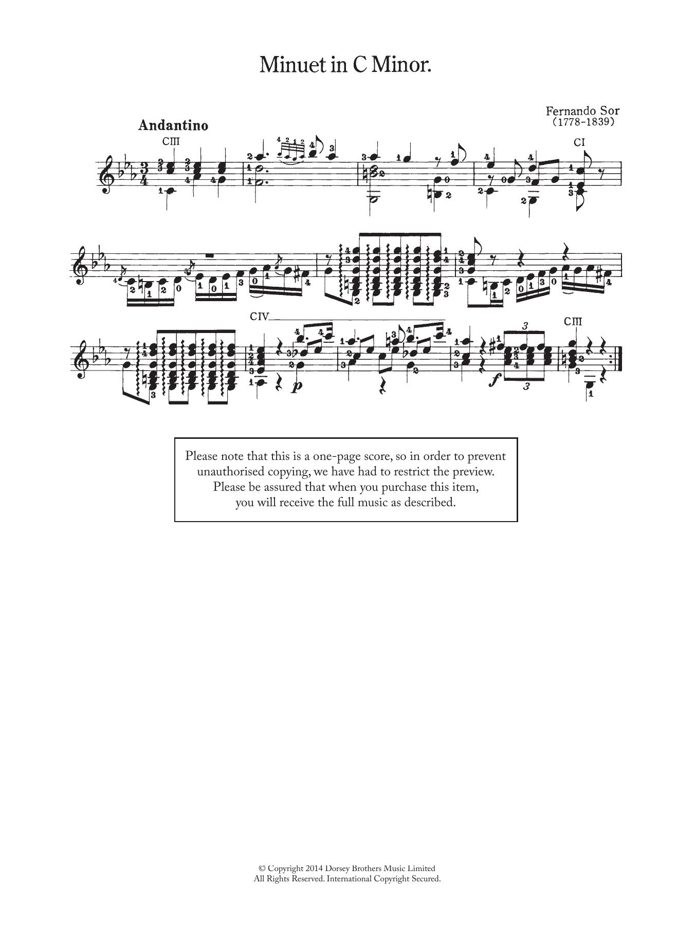 Fernando Sor - Minuet In C Minor