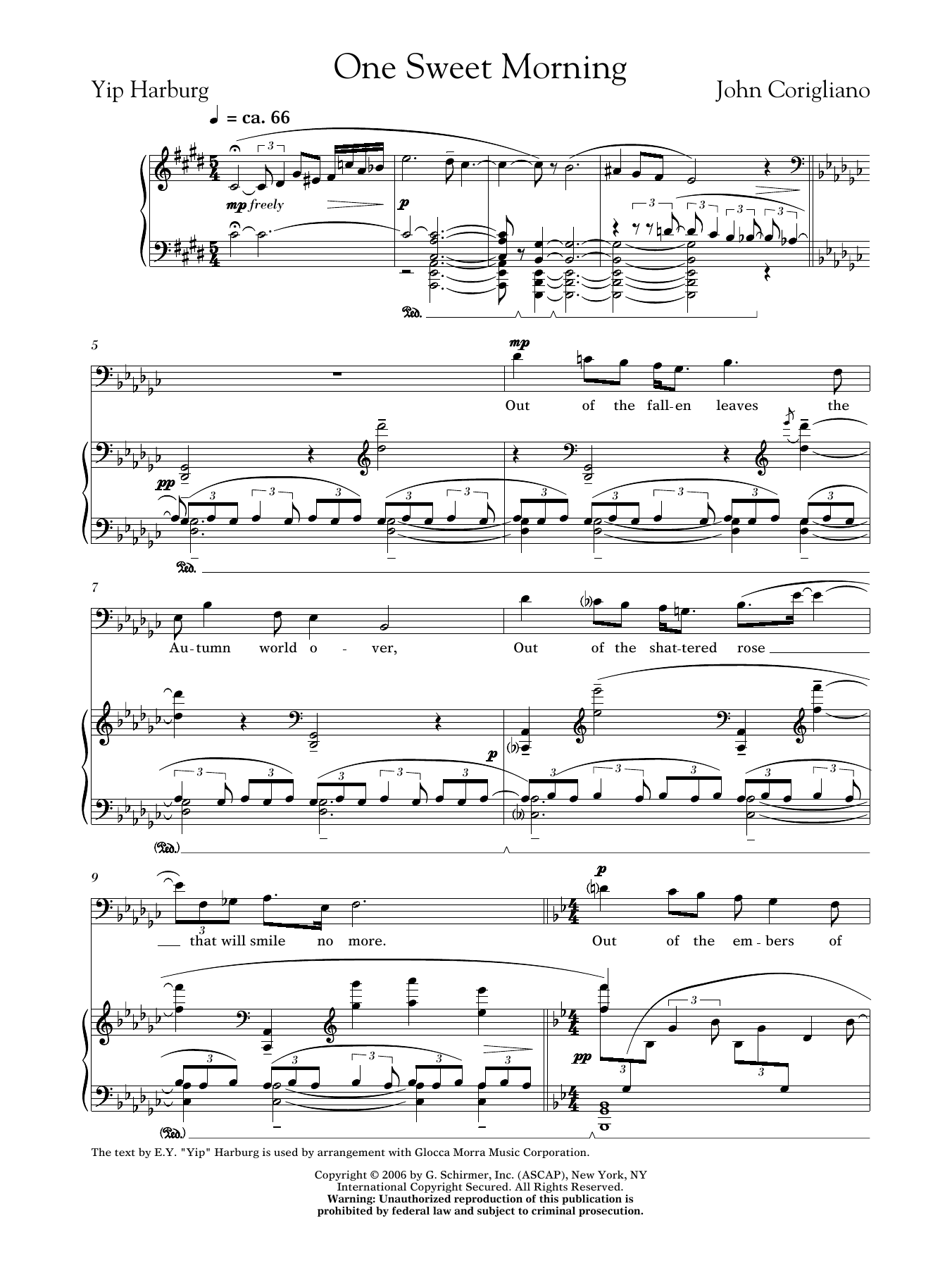 John Corigliano: One Sweet Morning (male voice)