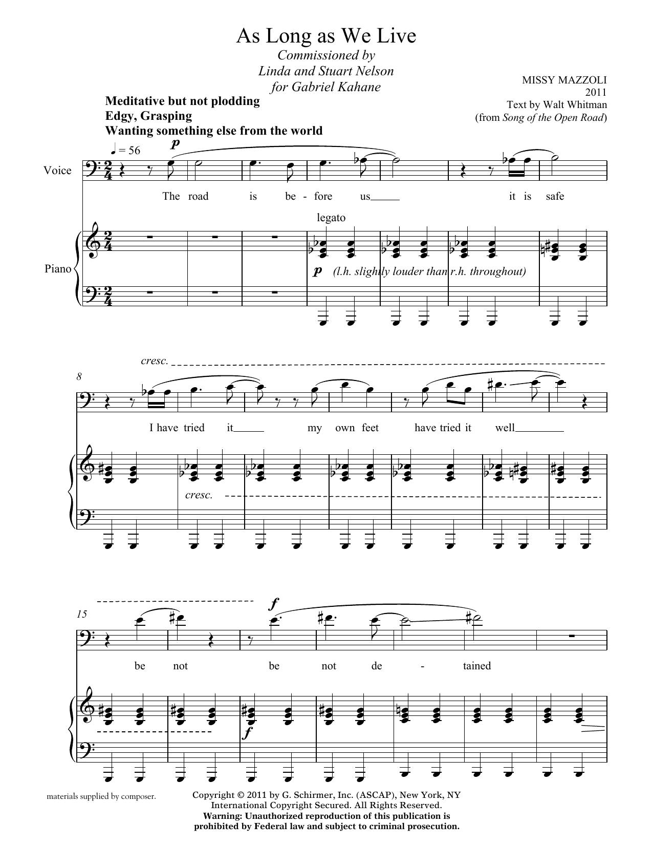 Missy Mazzoli: As Long As We Live (baritone and piano)
