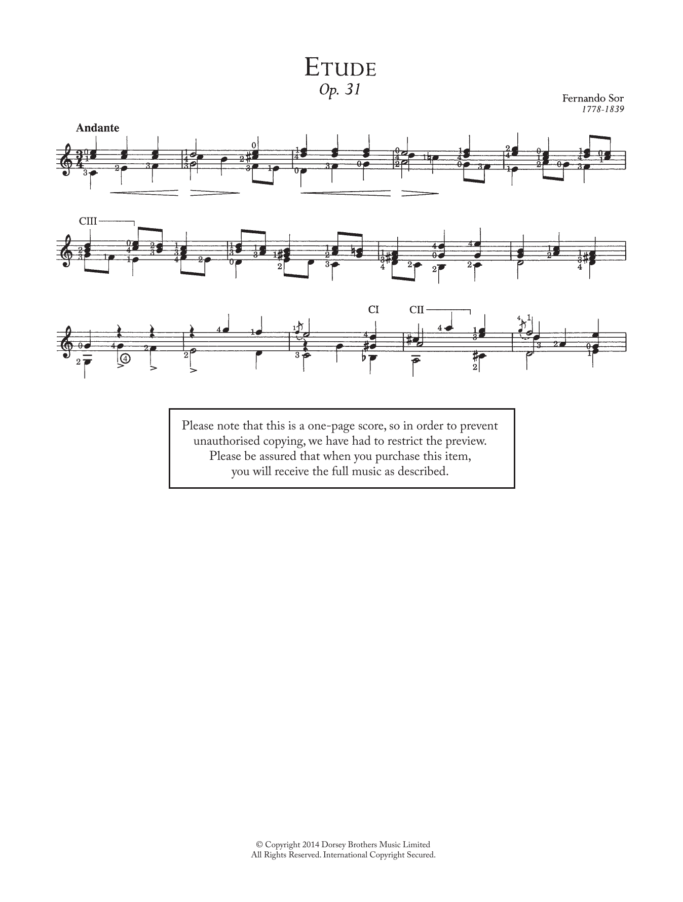 Fernando Sor - Etude, Op.31