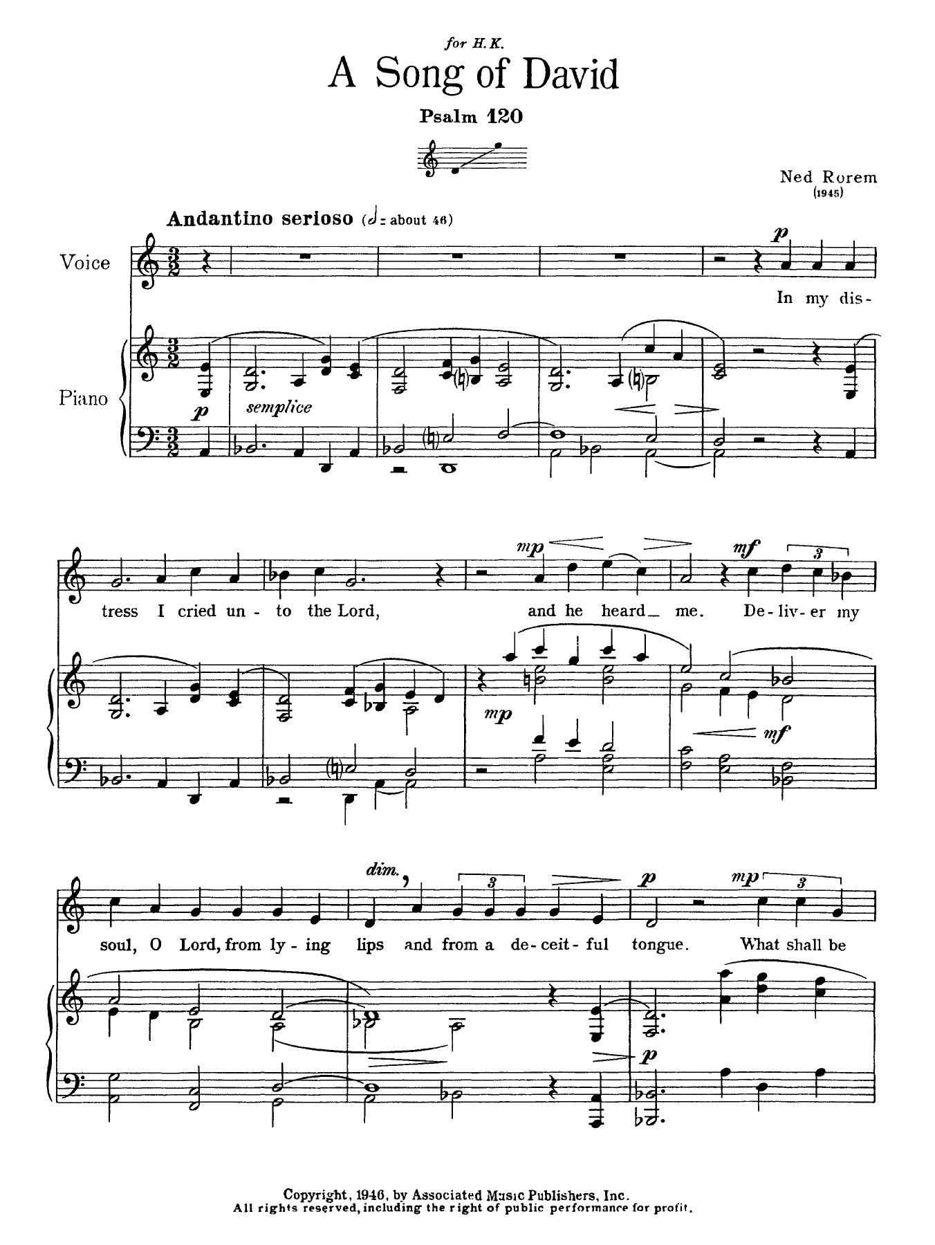 Ned Rorem - Song Of David (Psalm 120)
