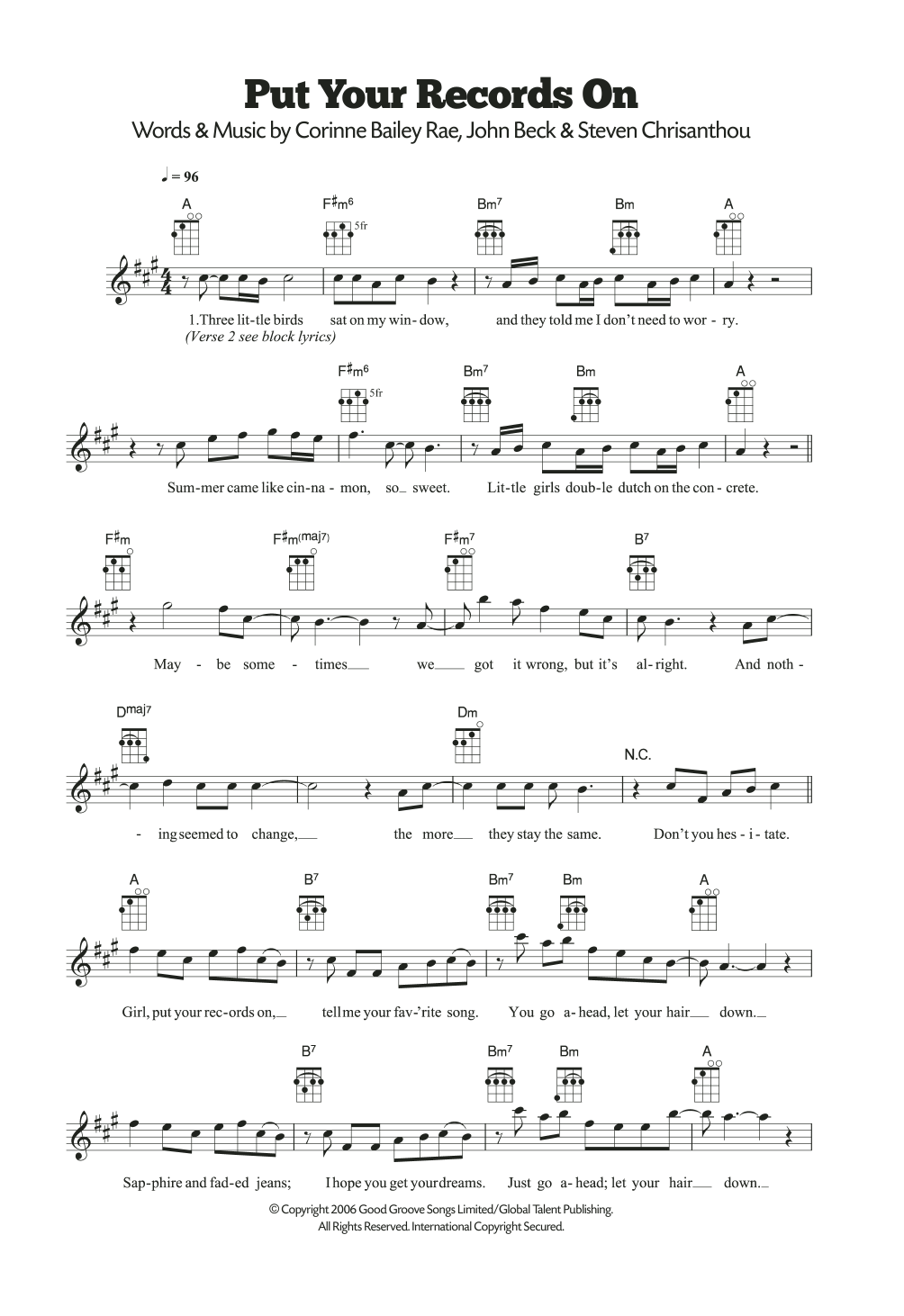 Sheet Music Digital Files To Print Licensed Corinne Bailey Rae