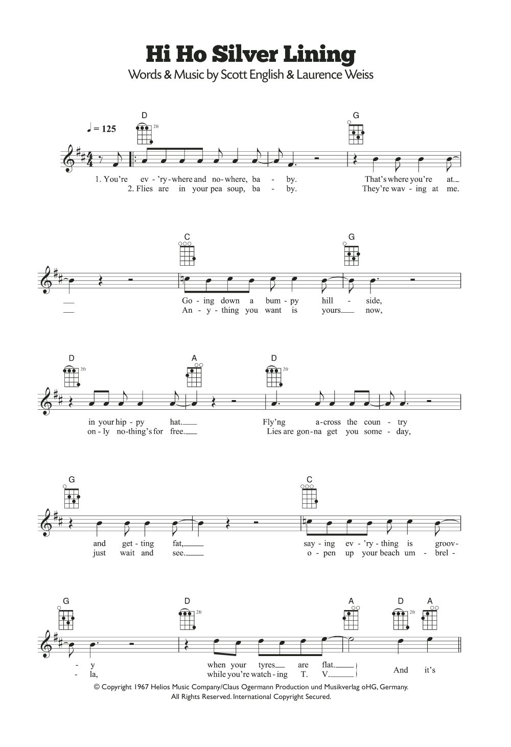 Sheet music digital files to print licensed ukulele digital hi ho silver lining hexwebz Image collections