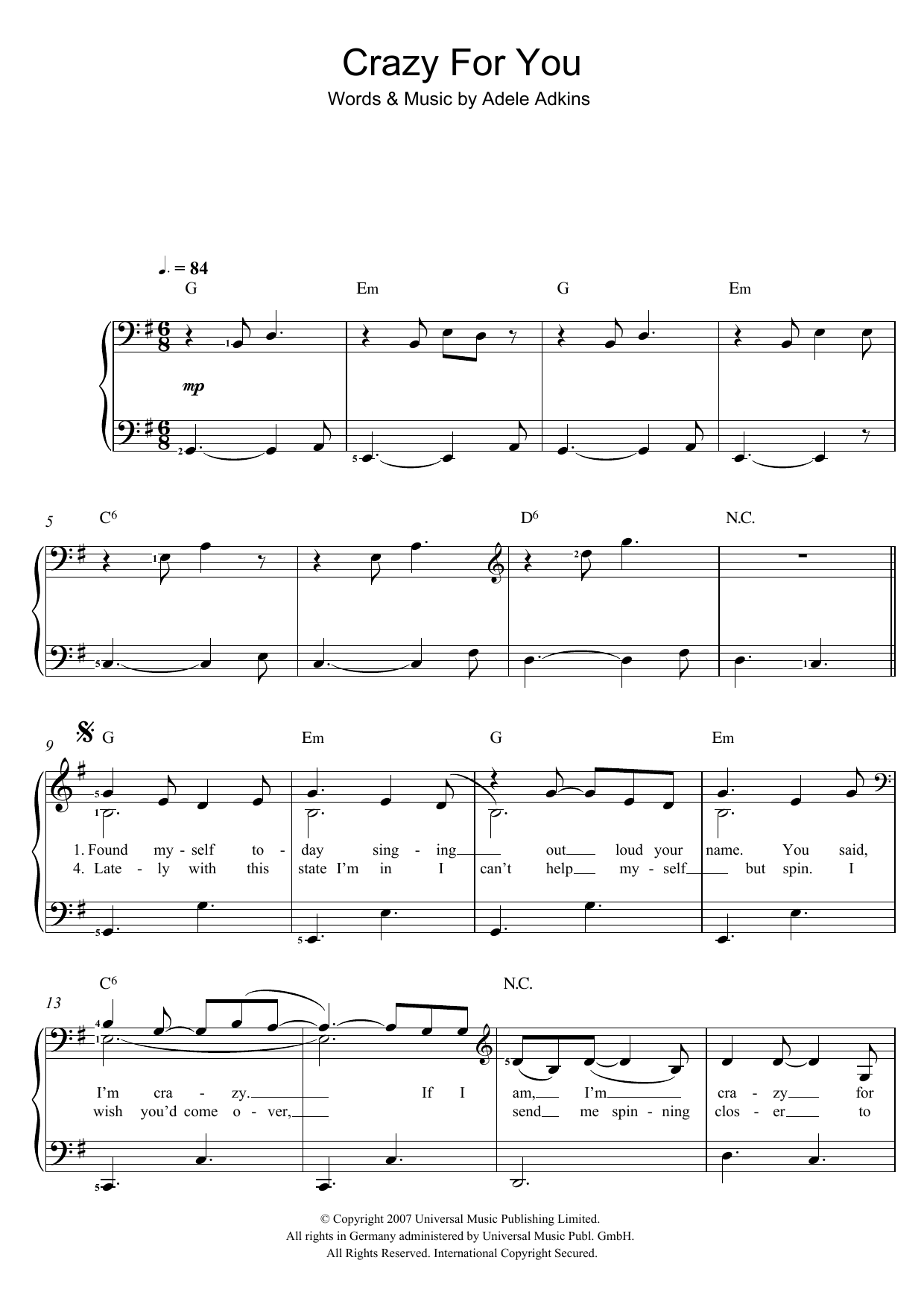 Adele crazy for you sheet music at stantons sheet music adele crazy for you hexwebz Image collections