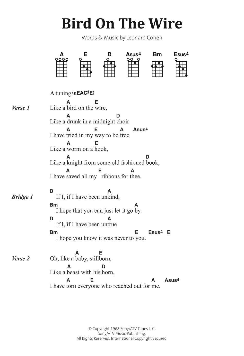 Leonard Cohen - Bird On The Wire (Bird On A Wire)