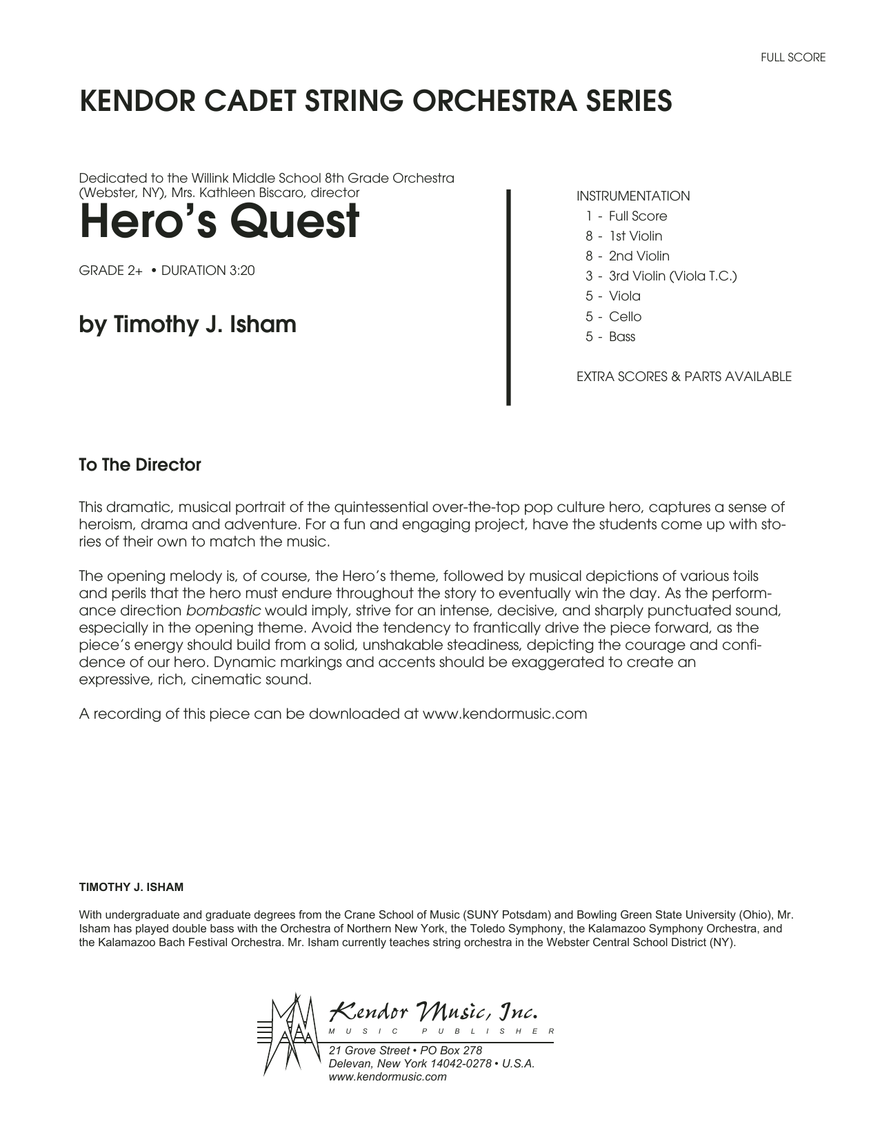 Hero's Quest - Full Score