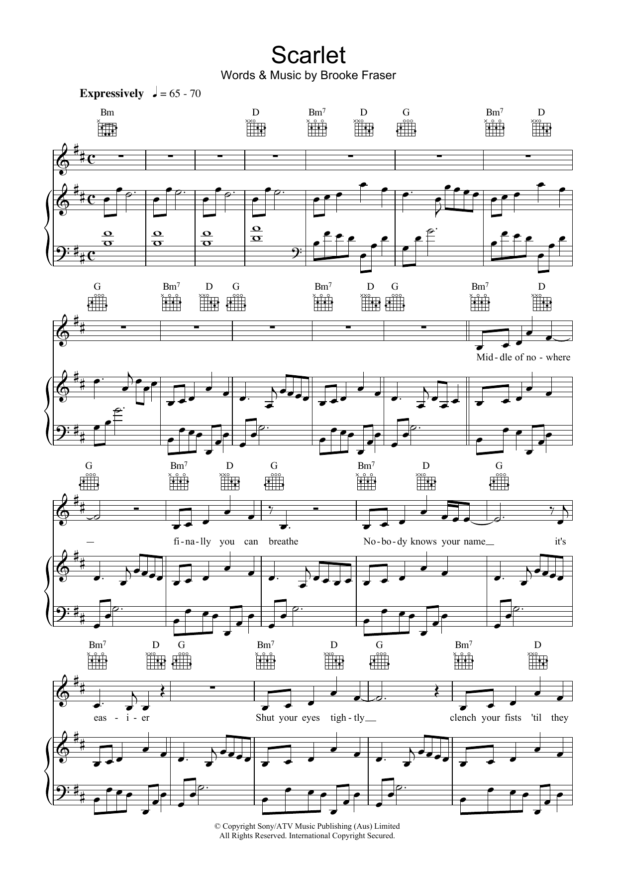 brooke fraser scarlet sheet music pdf