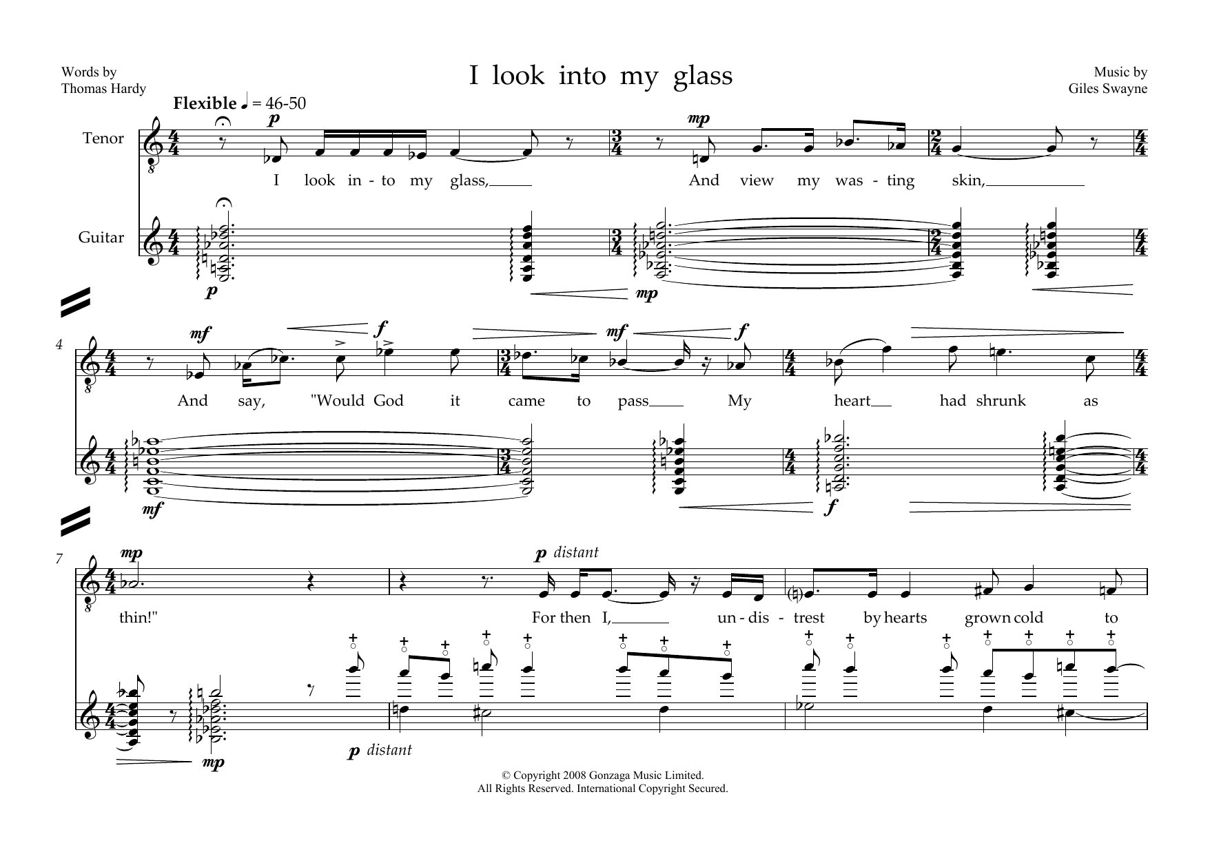 Giles Swayne - I look into my glass (for tenor and guitar)
