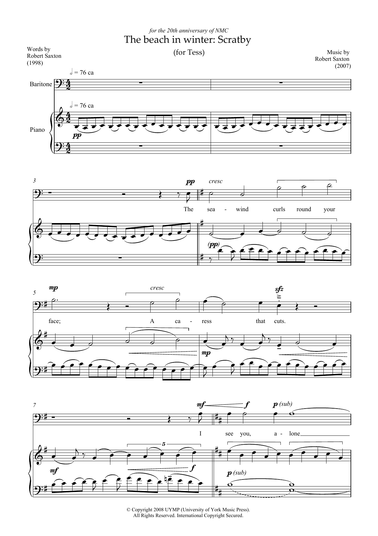 Robert Saxton - The beach in winter: Scratby (for baritone and piano)