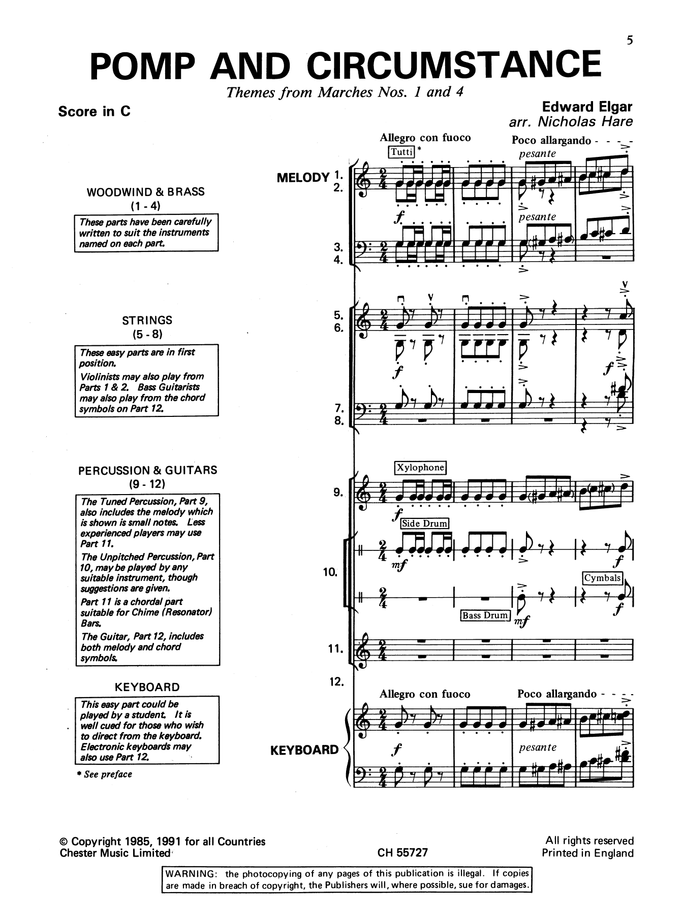 Edward Elgar: Pomp And Circumstance (Themes From Marches Nos. 1 And 4)