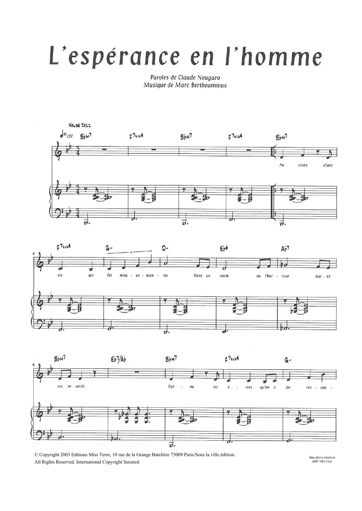 Claude Nougaro - L'Esperance En L'Homme