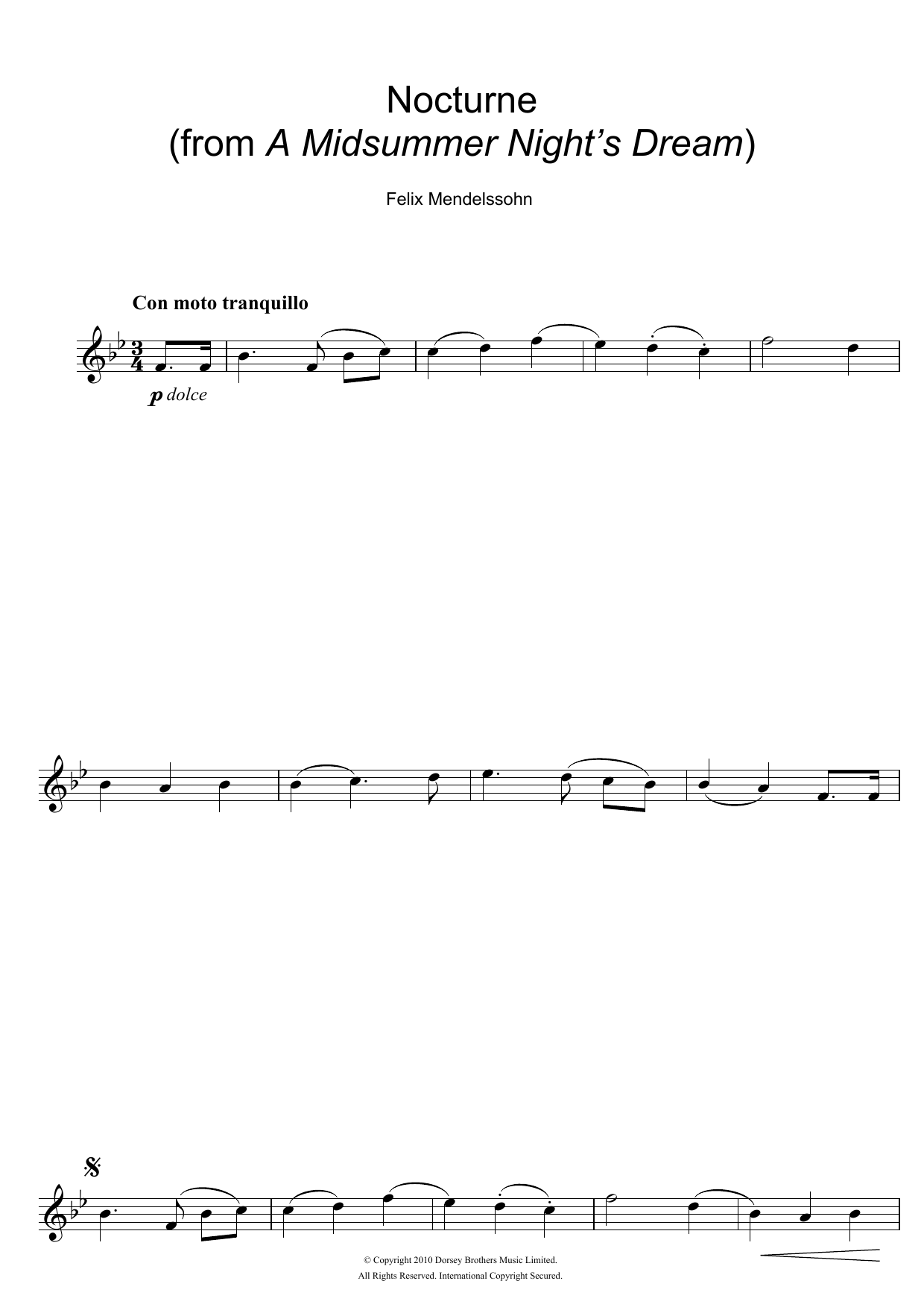 Felix Mendelssohn - Nocturne (from A Midsummer Night's Dream)