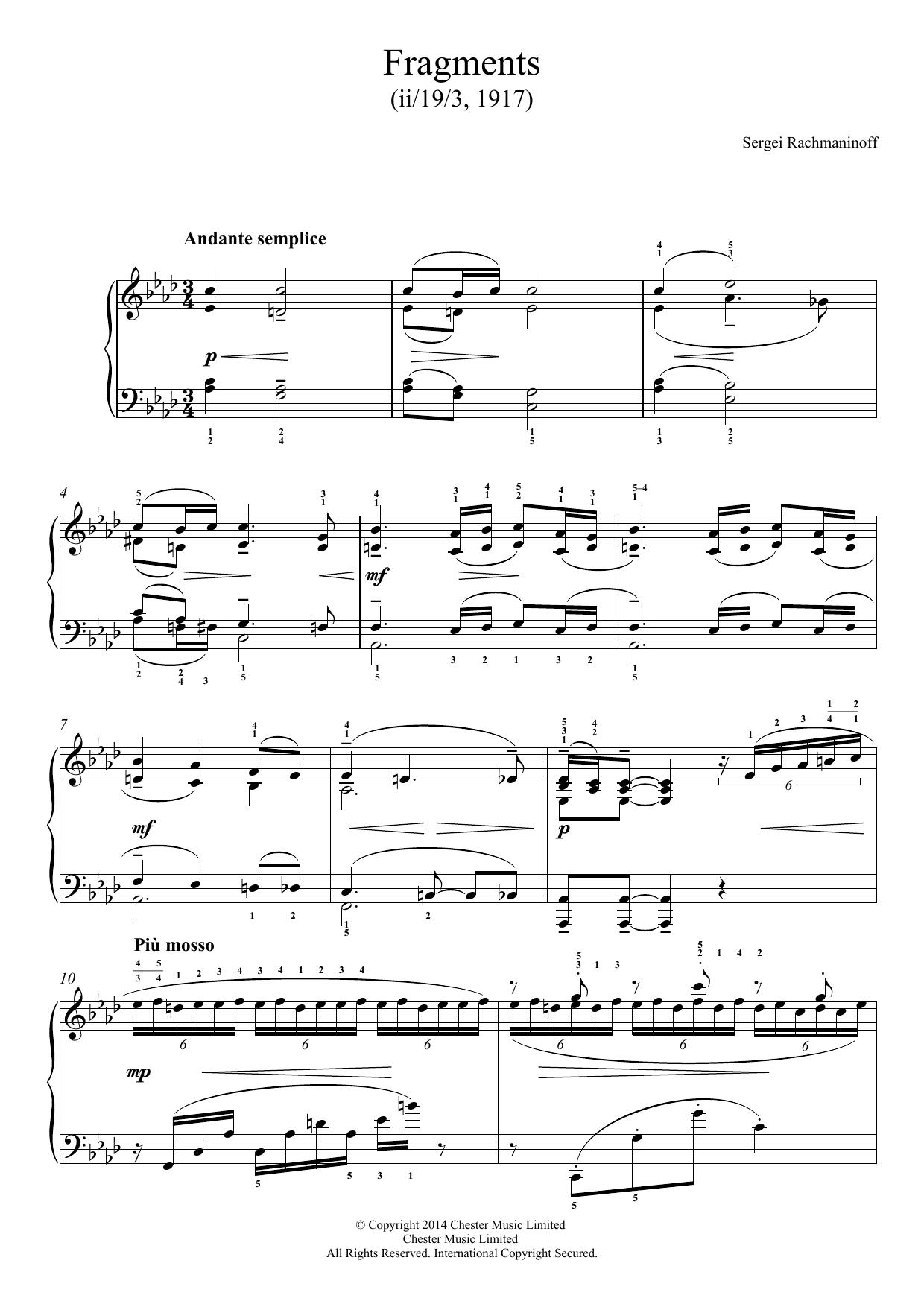 Sergei Rachmaninoff - Fragments (1917)