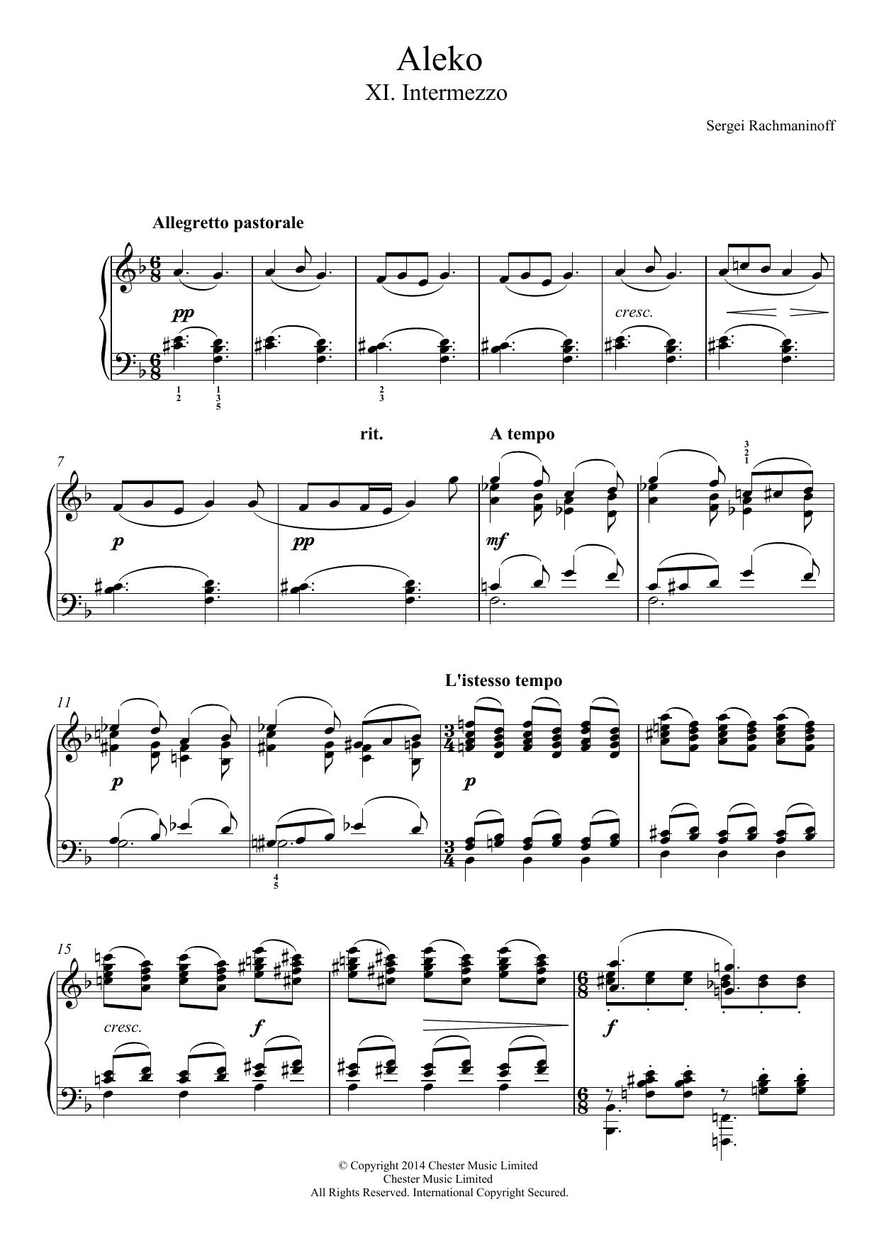 Sergei Rachmaninoff - Aleko - No.11 Intermezzo